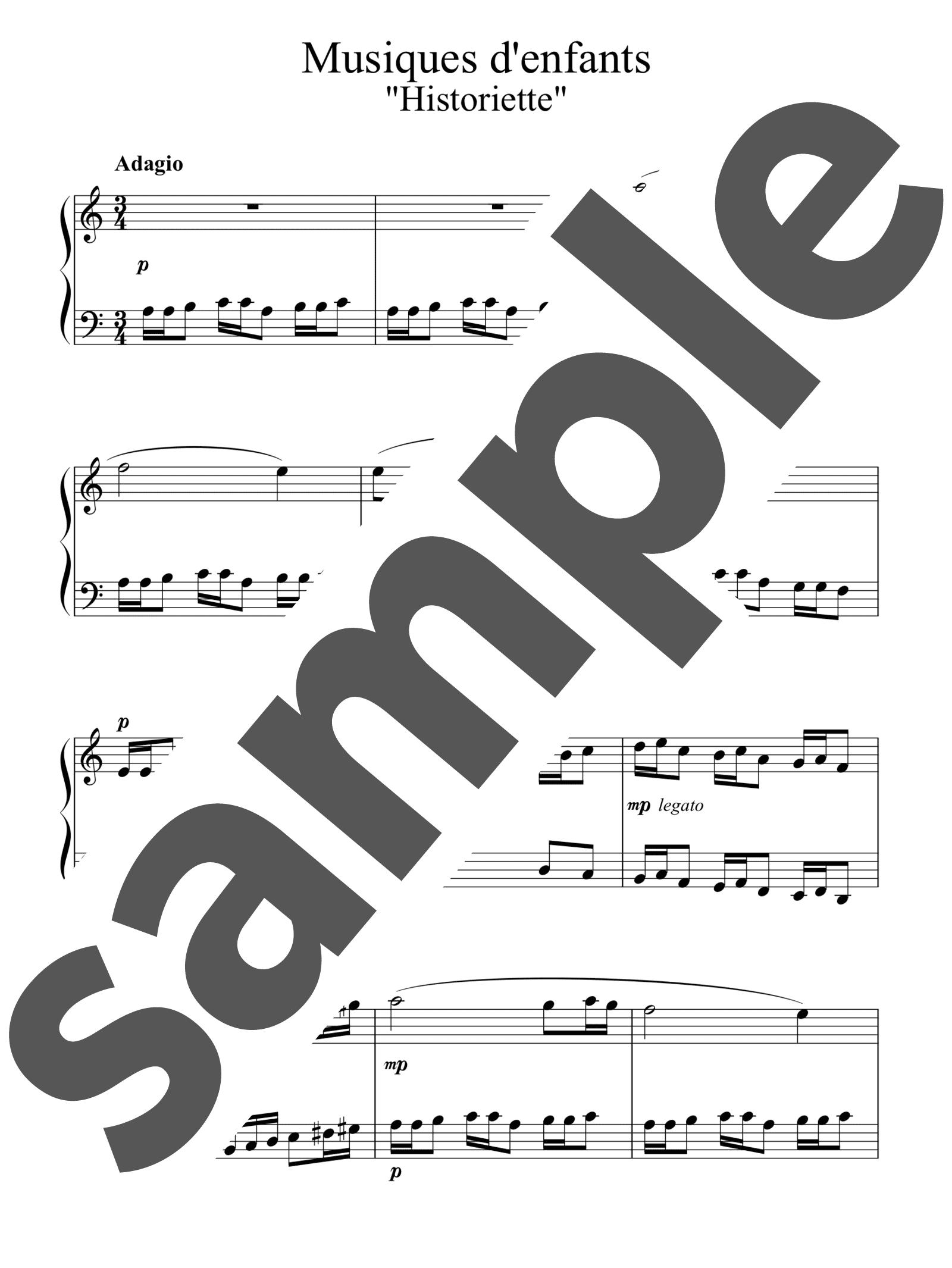 「12のやさしい小品「子供の音楽」より 物語」のサンプル楽譜