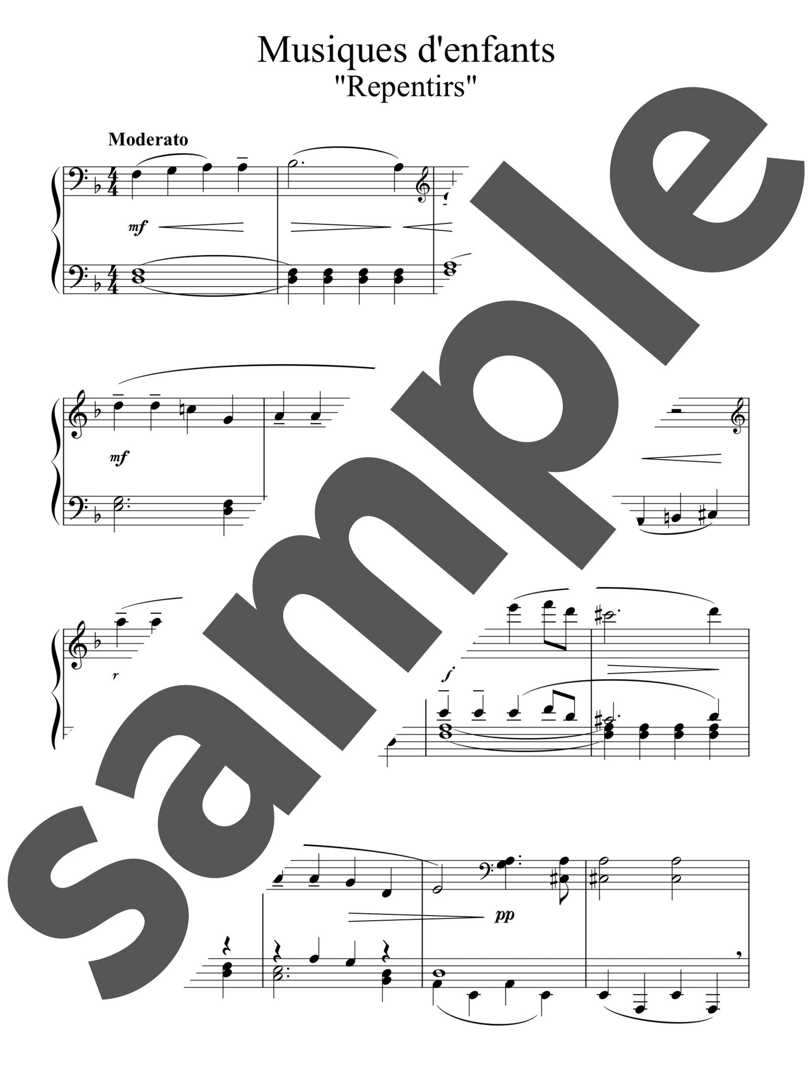 「12のやさしい小品「子供の音楽」より 後悔」のサンプル楽譜