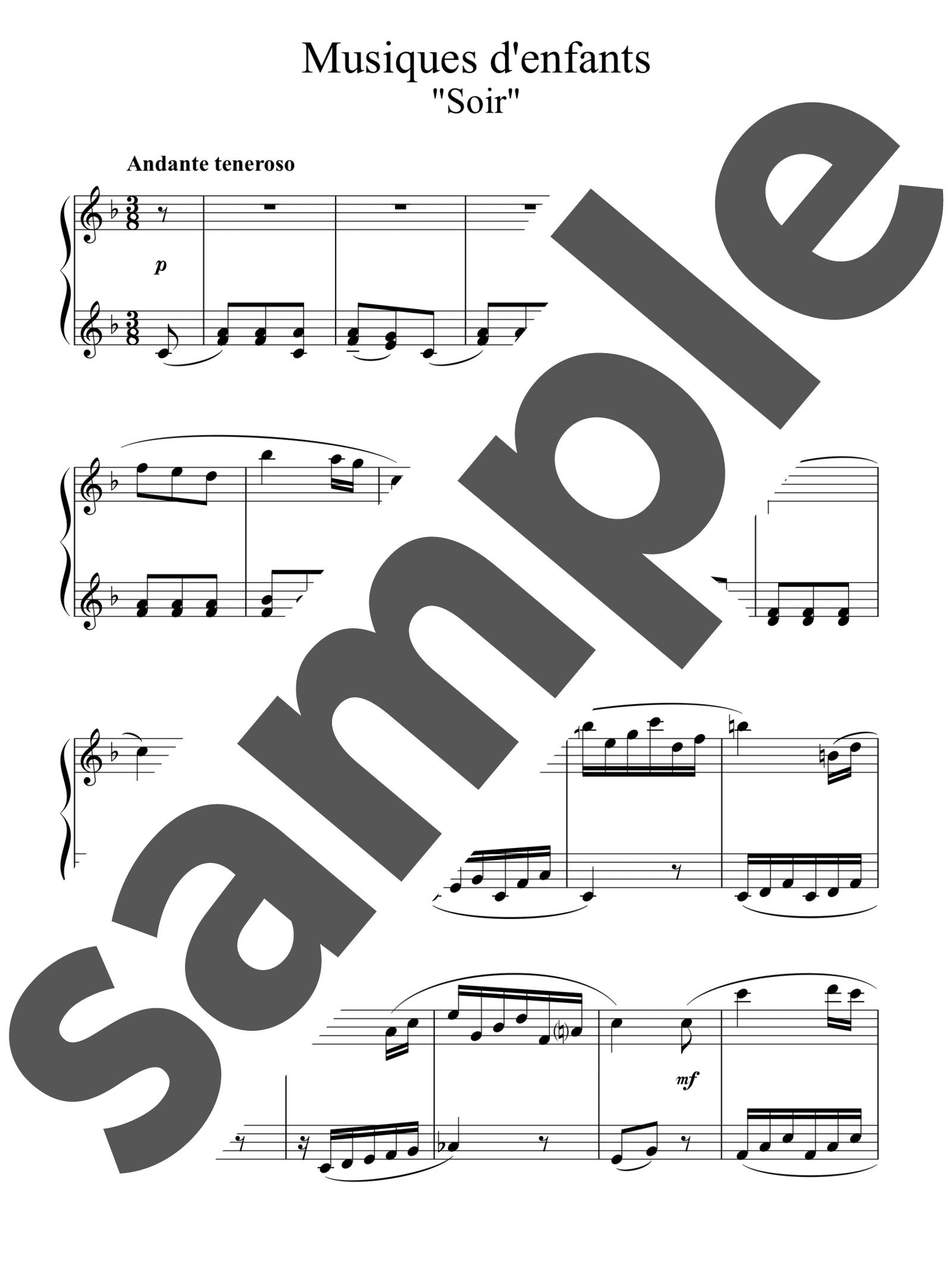 「12のやさしい小品「子供の音楽」より 夕べ」のサンプル楽譜
