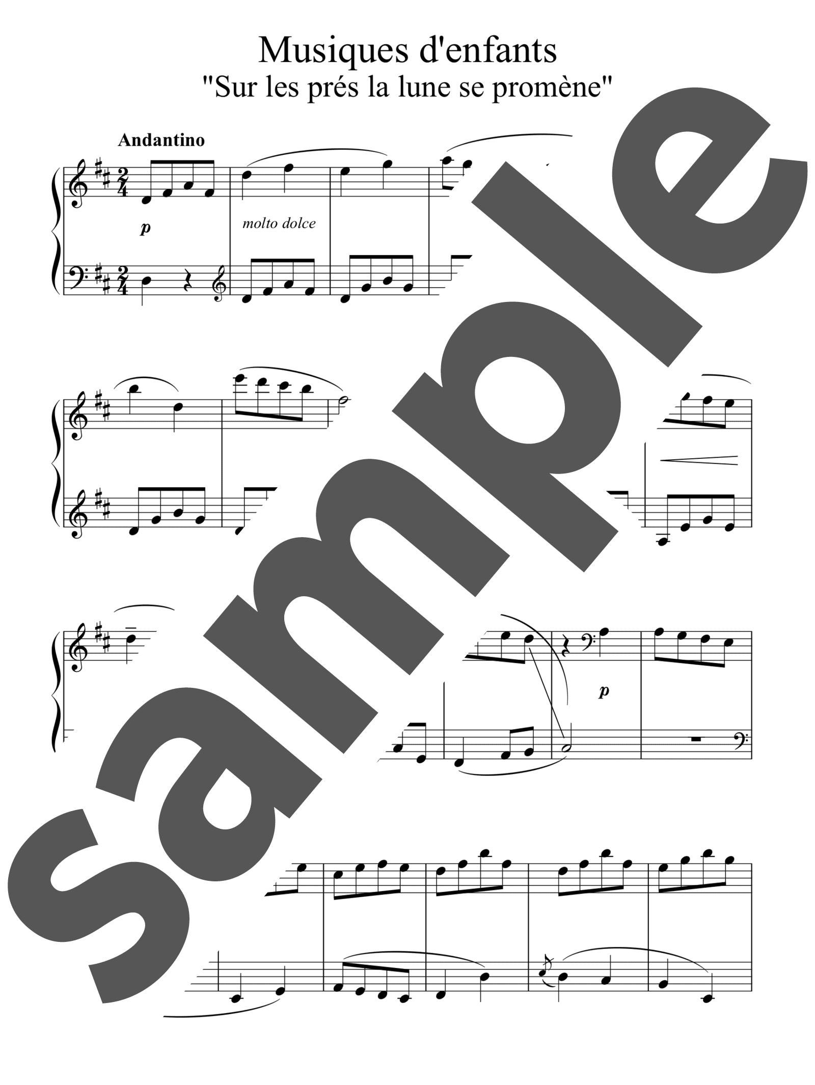 「12のやさしい小品「子供の音楽」より 月が牧場に昇る」のサンプル楽譜