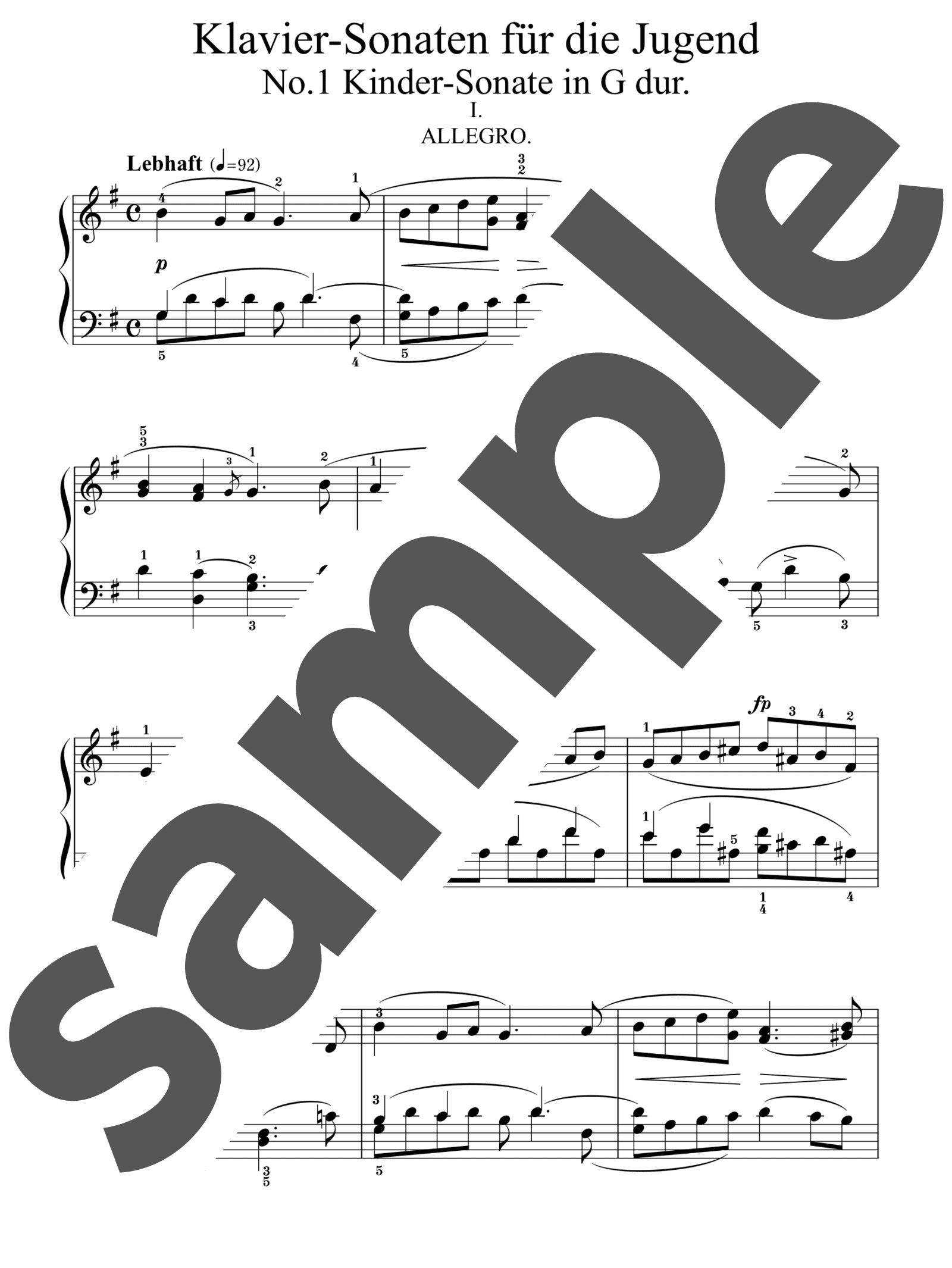 「子供のための3つのピアノ・ソナタ 第1番 ト長調」のサンプル楽譜