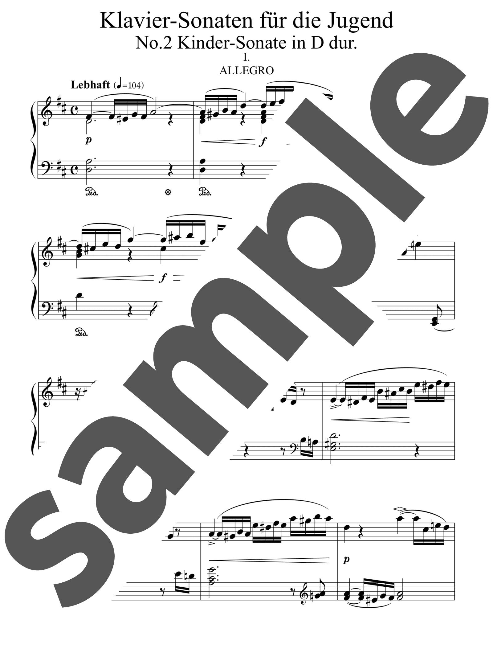 「子供のための3つのピアノ・ソナタ 第2番 ニ長調」のサンプル楽譜
