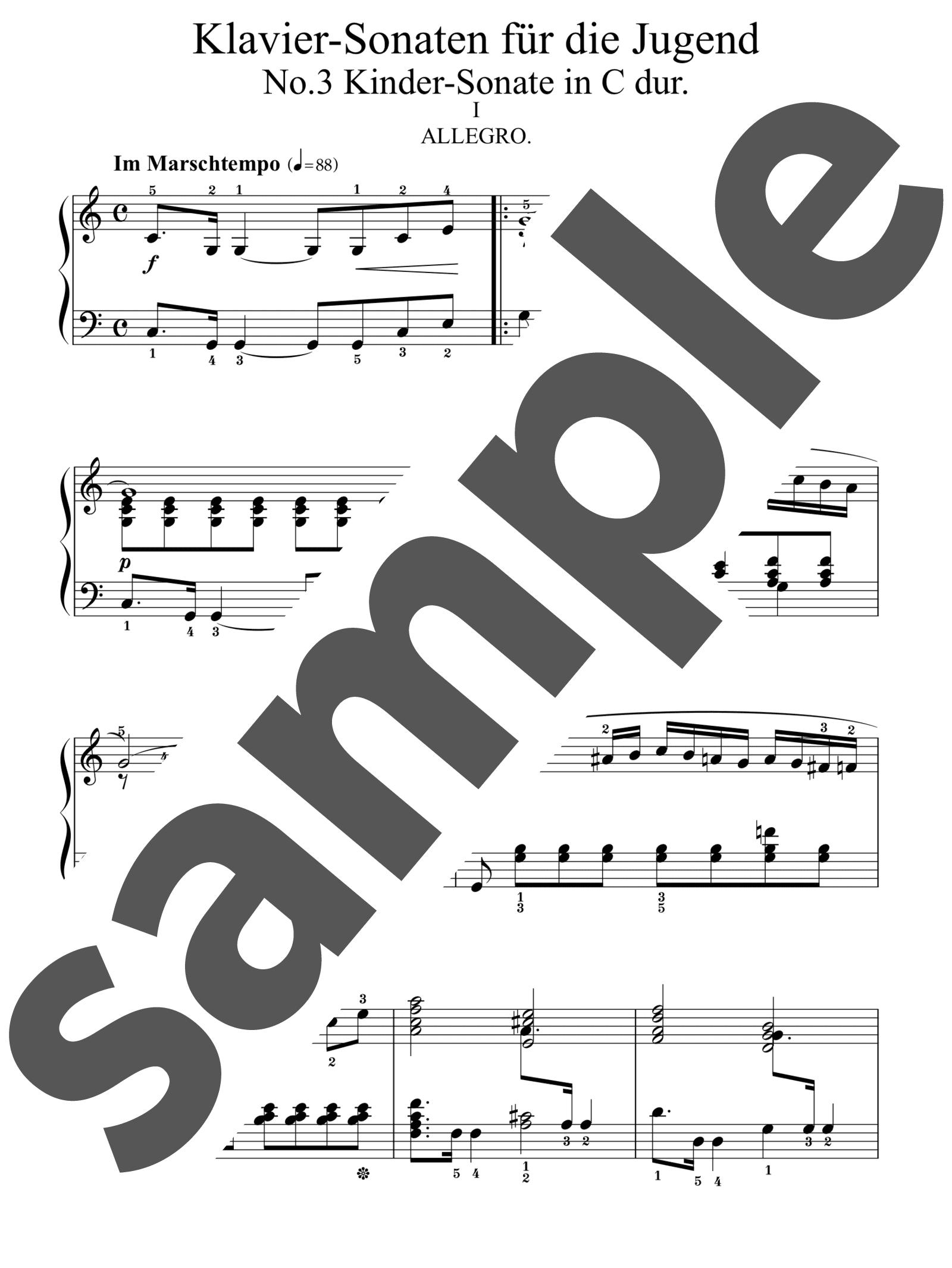 「子供のための3つのピアノ・ソナタ 第3番 ハ長調」のサンプル楽譜
