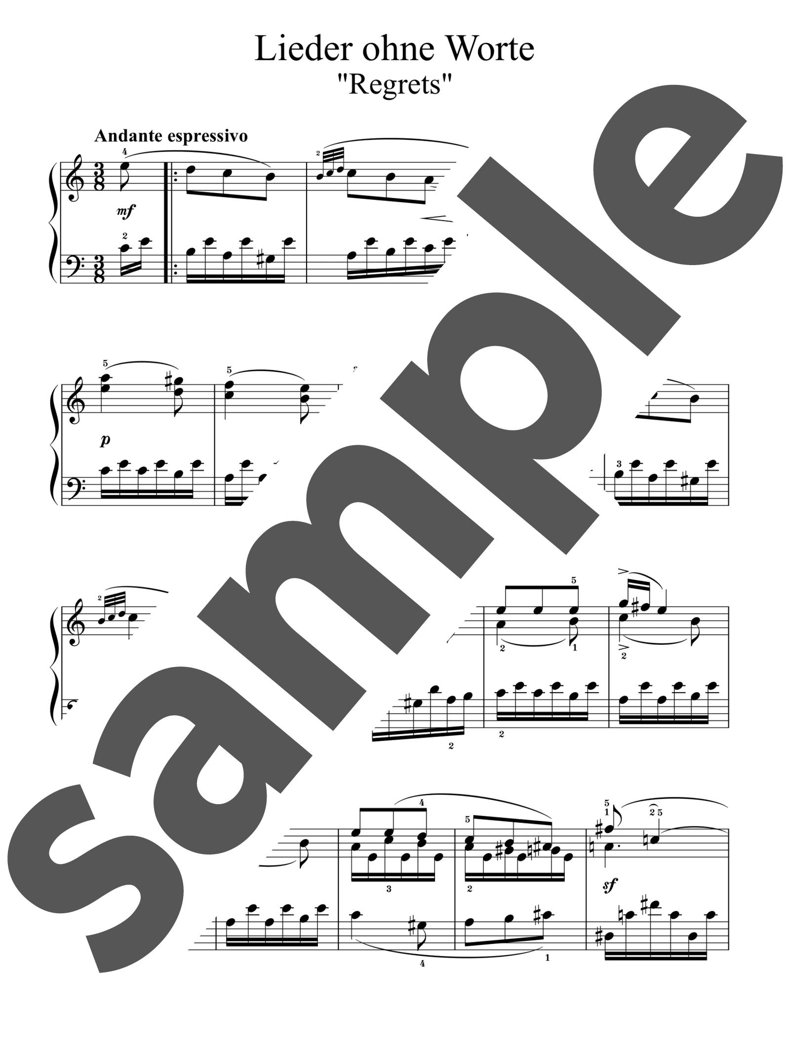 「無言歌集 第1巻 第2番 後悔」のサンプル楽譜