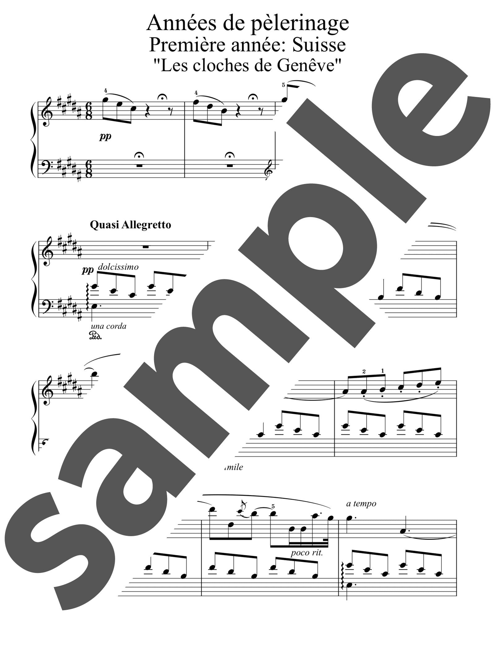「巡礼の年第1年「スイス」9. ジュネーヴの鐘」のサンプル楽譜
