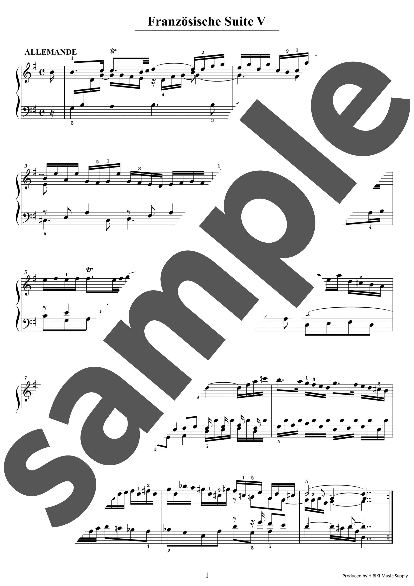 「フランス組曲 第5番ト長調」のサンプル楽譜