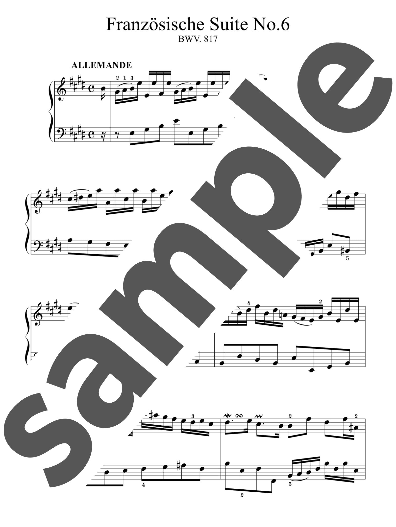 「フランス組曲 第6番 ホ長調 BWV.817」のサンプル楽譜