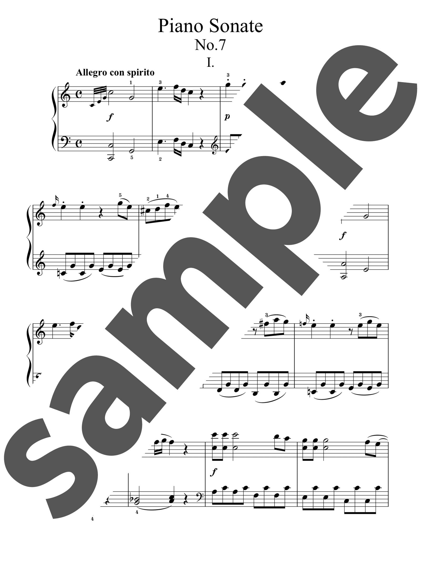 「ピアノ・ソナタ 第7番 ハ長調 第1楽章」のサンプル楽譜