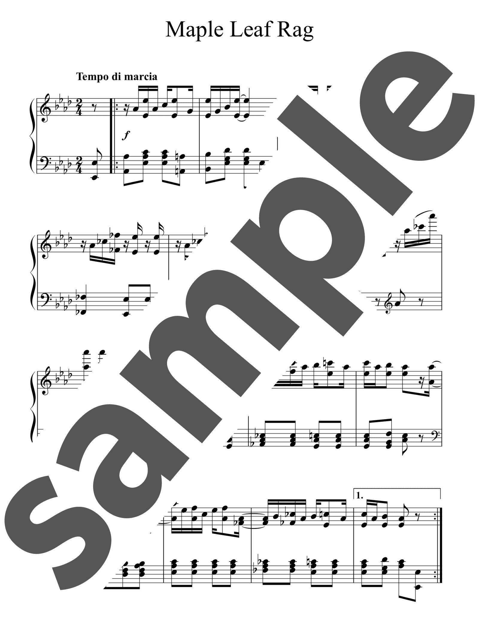 「メープル・リーフ・ラグ」のサンプル楽譜