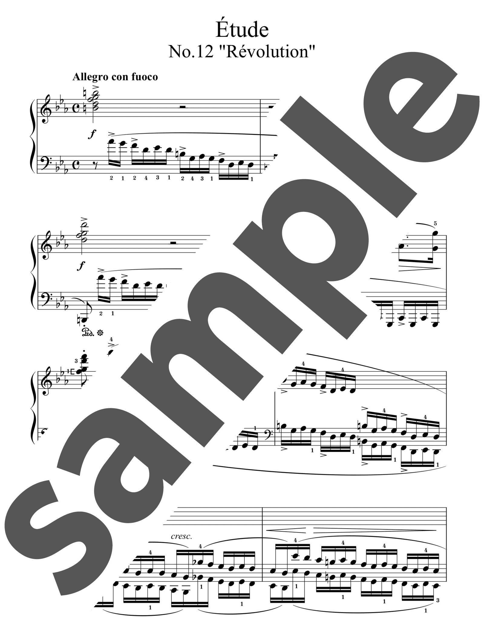 「革命のエチュード」のサンプル楽譜