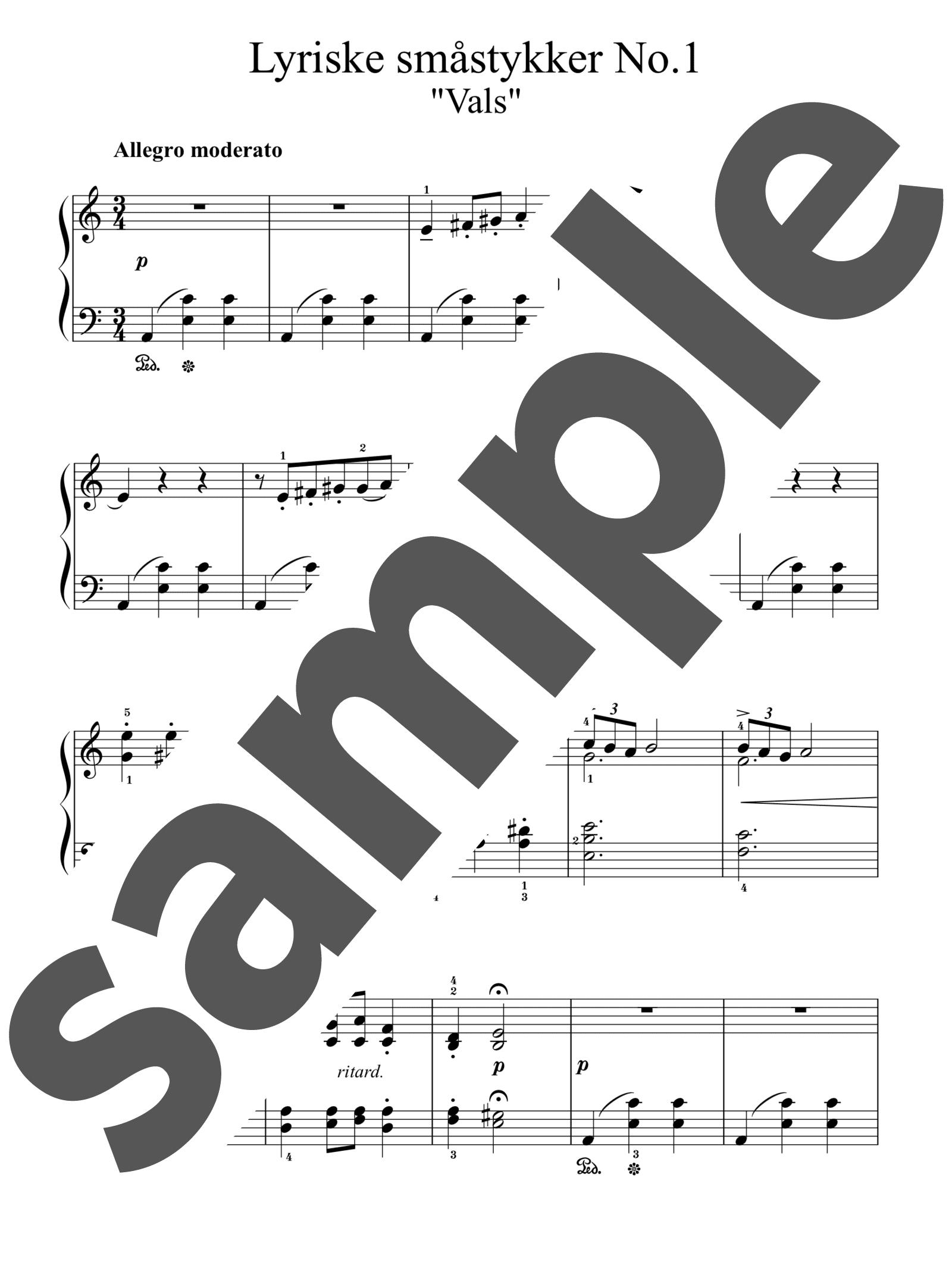「「抒情小曲集」よりワルツ」のサンプル楽譜