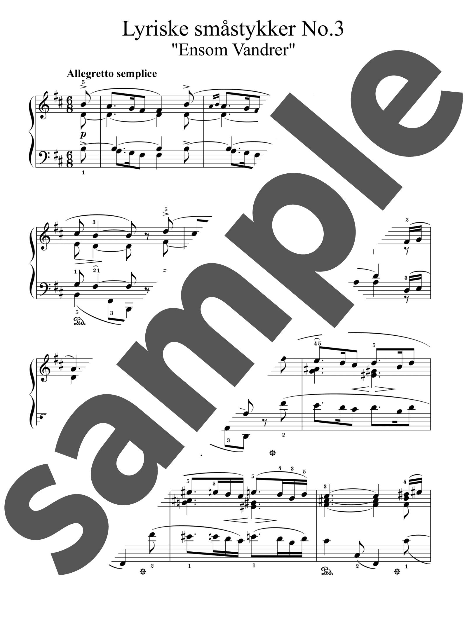 「孤独なさすらい人」のサンプル楽譜