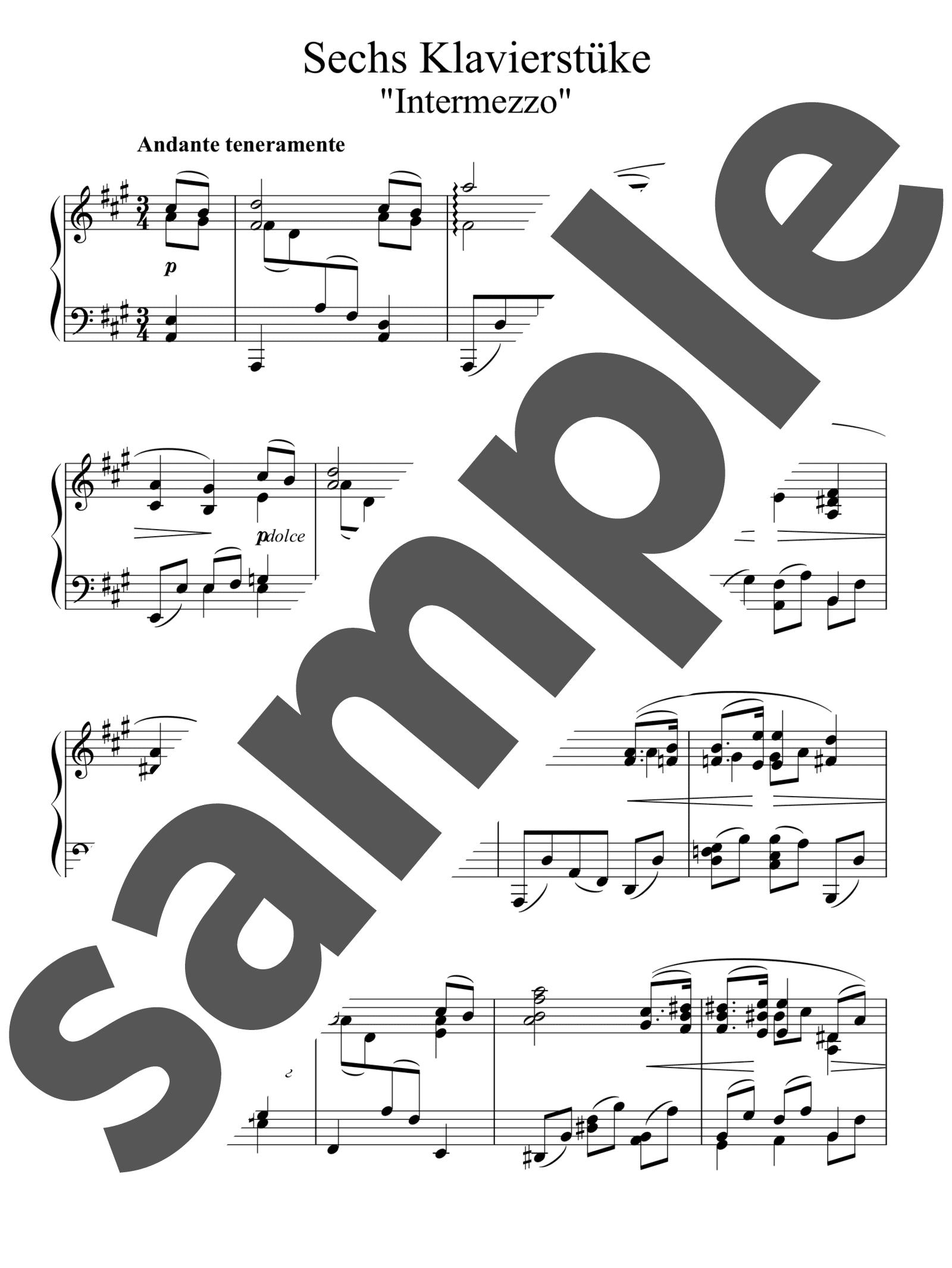 「6つの小品より 第2番 間奏曲イ長調」のサンプル楽譜