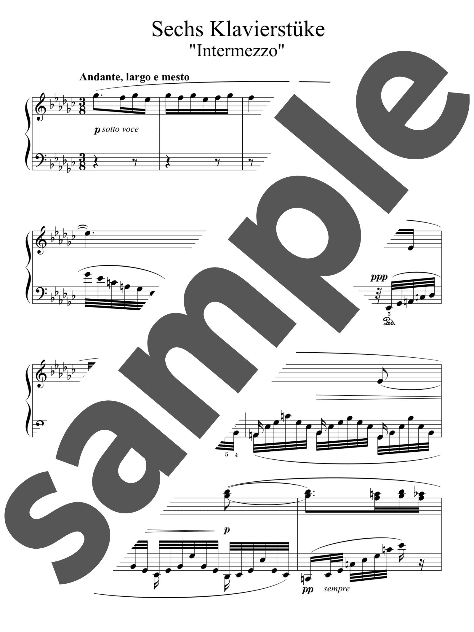 「6つの小品より 第6番 間奏曲 変ホ短調」のサンプル楽譜