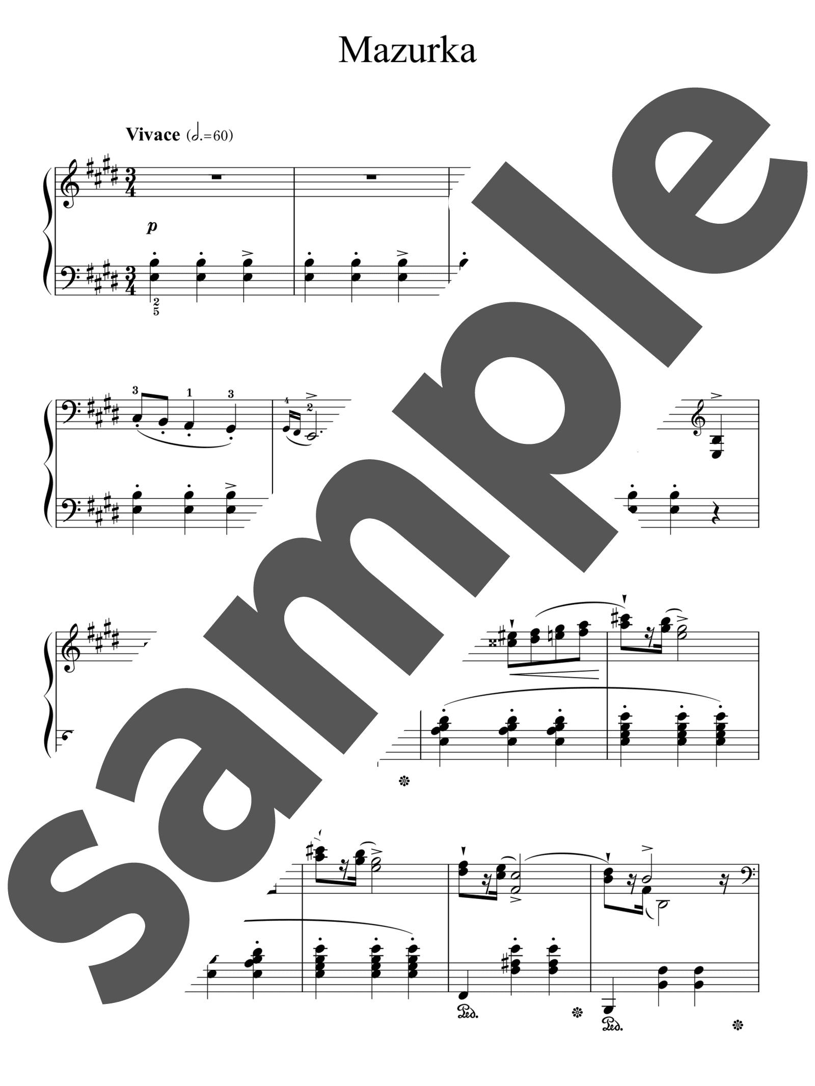 「マズルカ 第3番 ホ長調」のサンプル楽譜