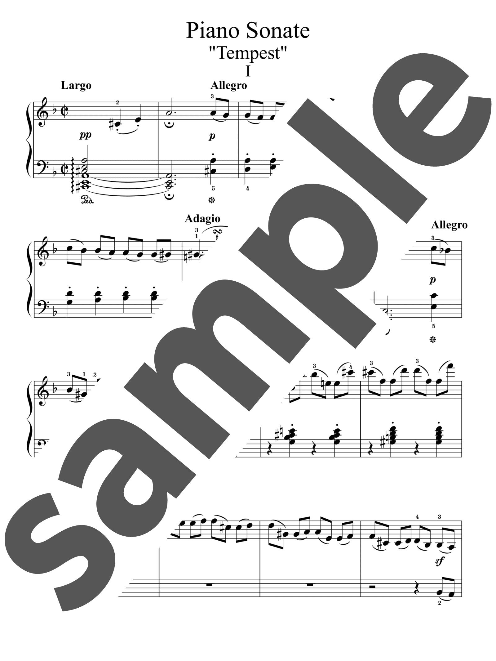 「ピアノソナタ第17番「テンペスト」第1楽章」のサンプル楽譜