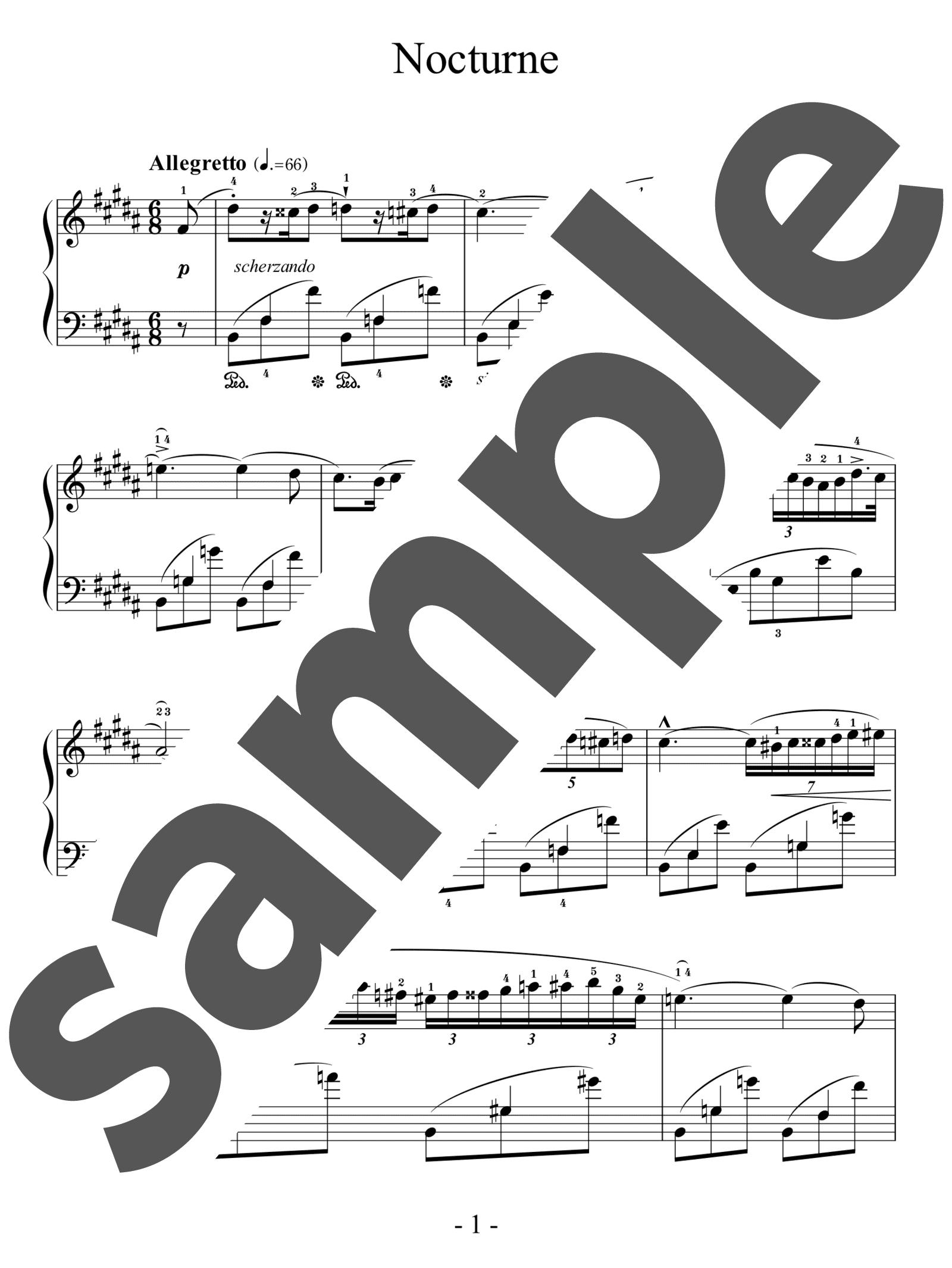「ノクターン 第3番 ロ長調」のサンプル楽譜