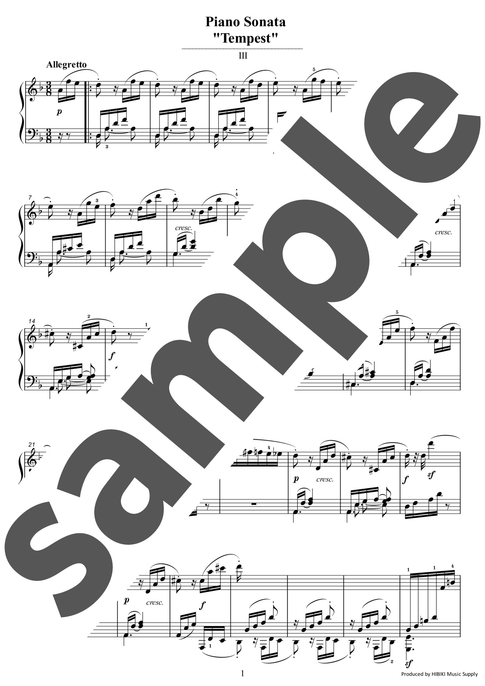 「テンペスト第3楽章」のサンプル楽譜