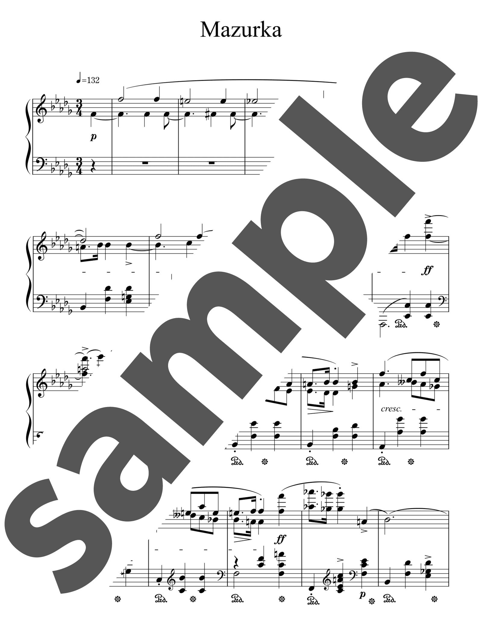 「マズルカ 第17番 変ロ短調」のサンプル楽譜
