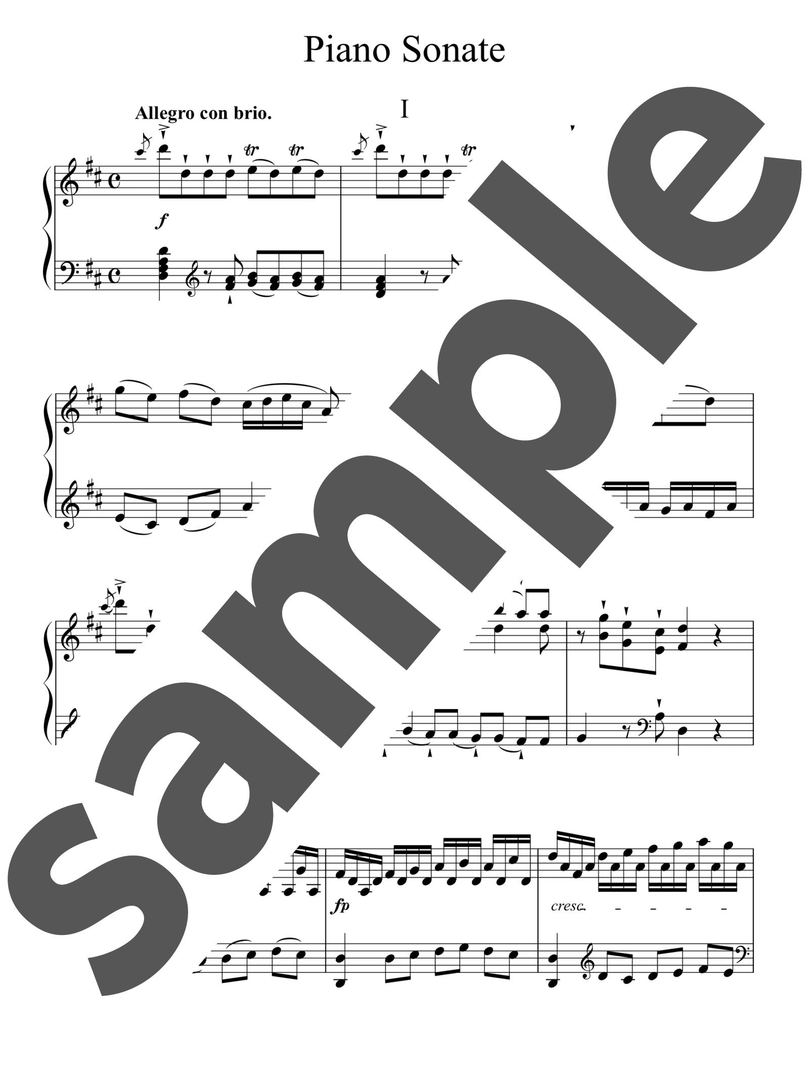 「ピアノ・ソナタ 第37番 ニ長調 第1楽章」のサンプル楽譜