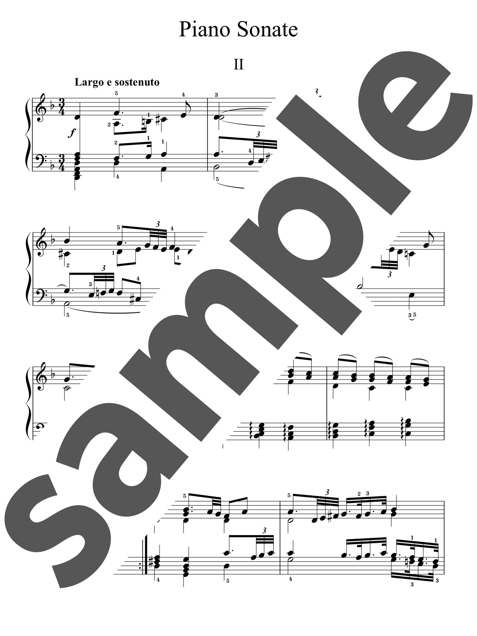 「ピアノ・ソナタ 第37番 ニ長調 第2楽章」のサンプル楽譜