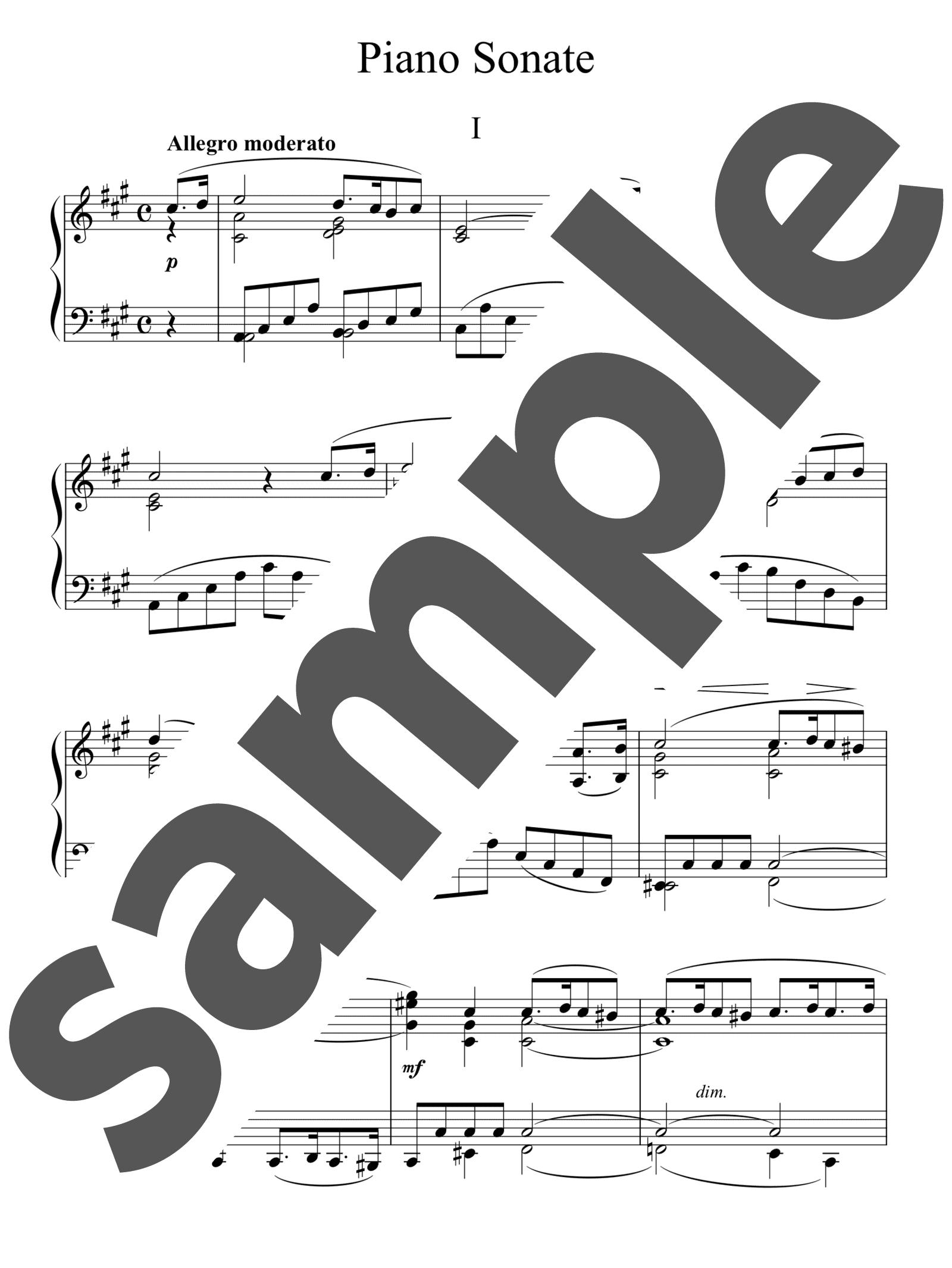 「ピアノ・ソナタ 第13番 イ長調 第1楽章」のサンプル楽譜