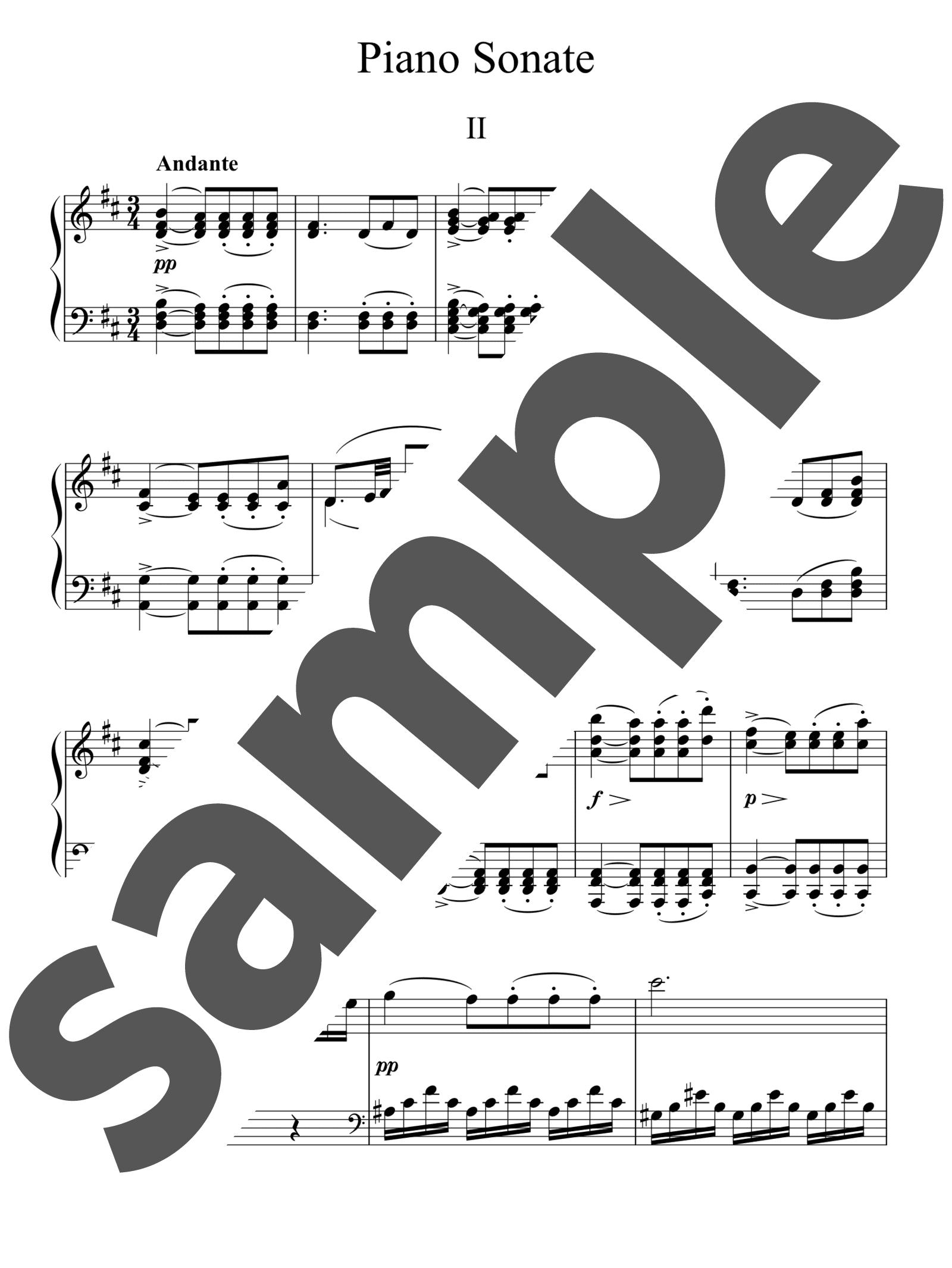 「ピアノ・ソナタ 第13番 イ長調 第2楽章」のサンプル楽譜