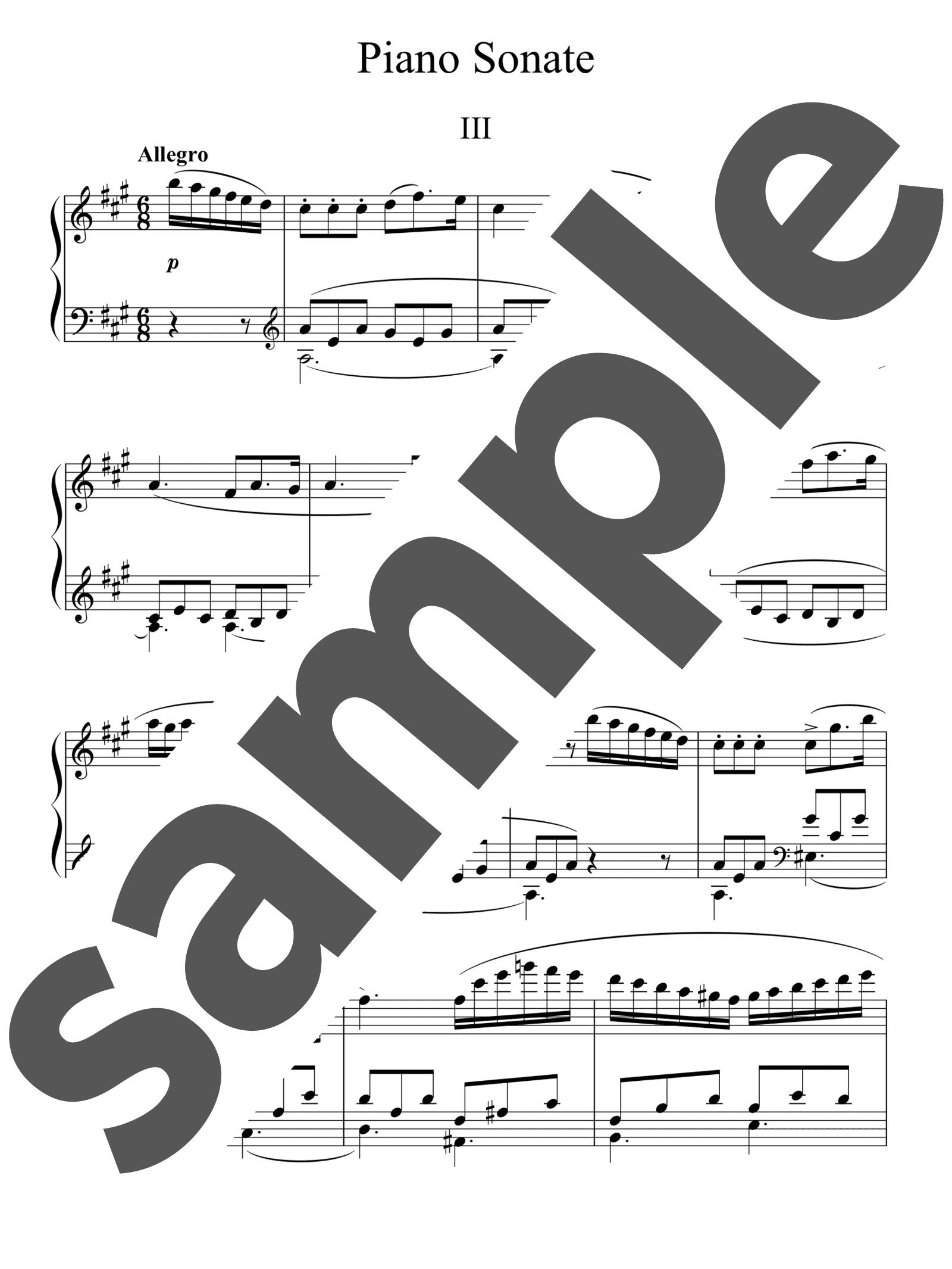 「ピアノ・ソナタ 第13番 イ長調 第3楽章」のサンプル楽譜