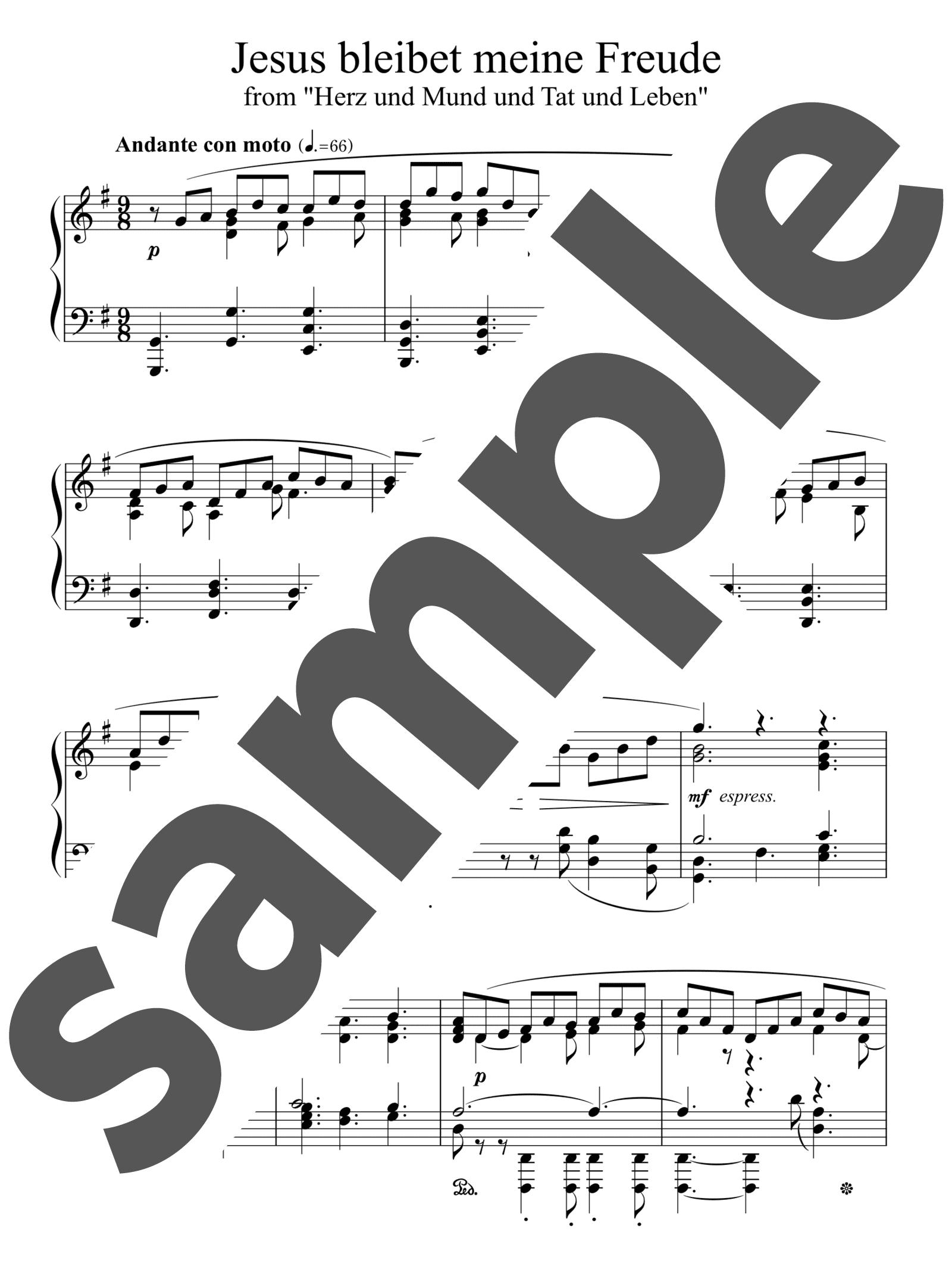 「主よ、人の望みの喜びよ」のサンプル楽譜