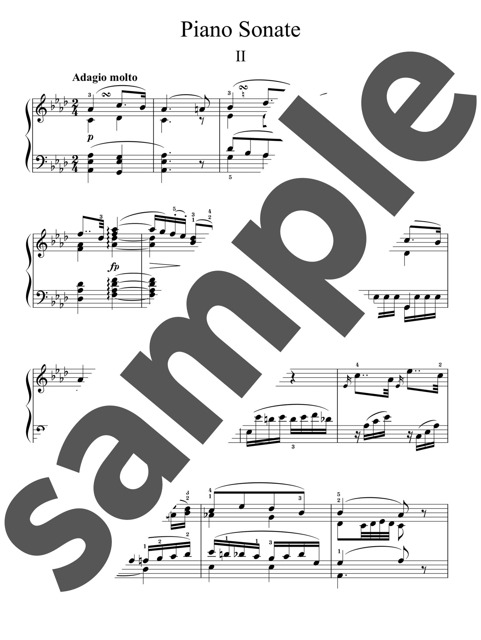 「ピアノ・ソナタ 第5番 ハ短調 第2楽章」のサンプル楽譜