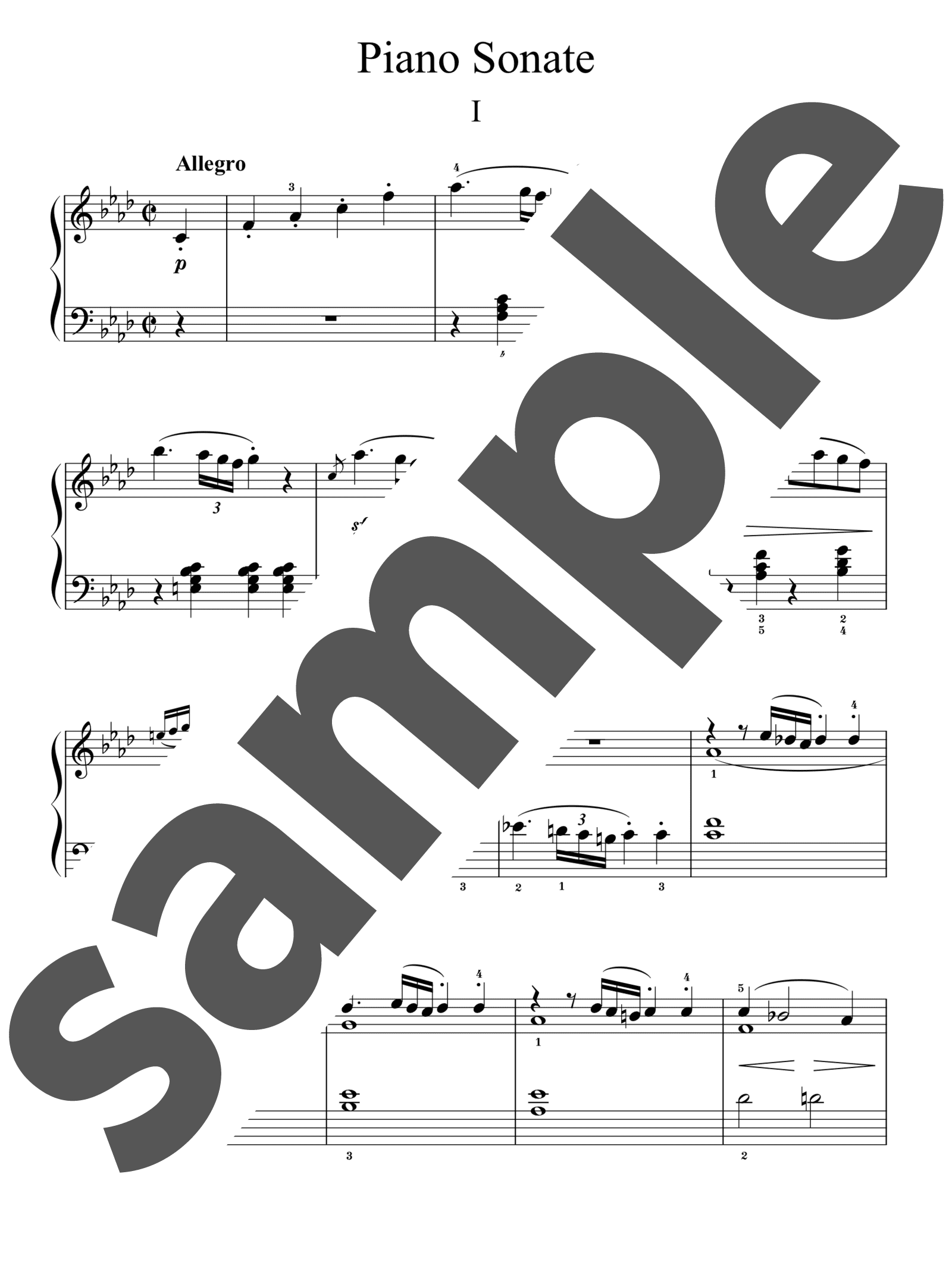 「ピアノ・ソナタ 第1番 ヘ短調 第1楽章」のサンプル楽譜