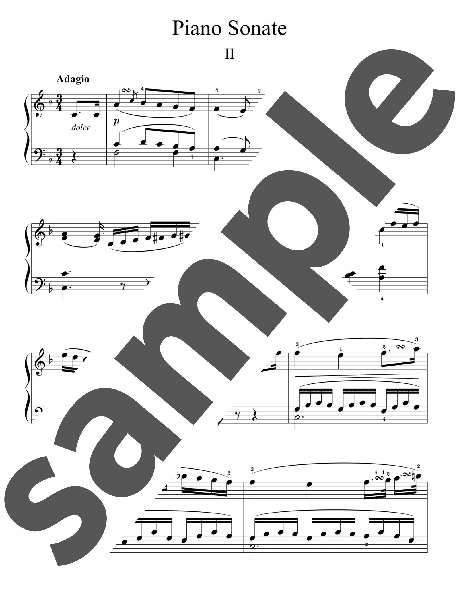 「ピアノ・ソナタ 第1番 ヘ短調 第2楽章」のサンプル楽譜