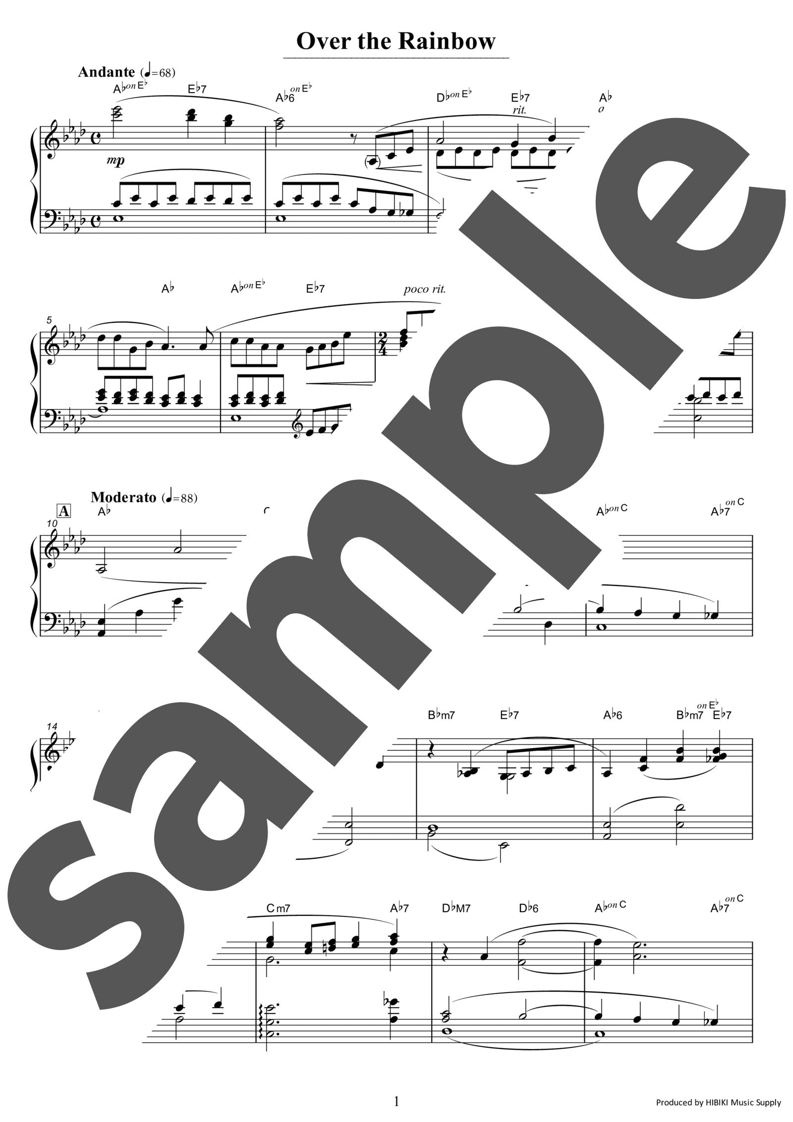 「虹の彼方に」のサンプル楽譜