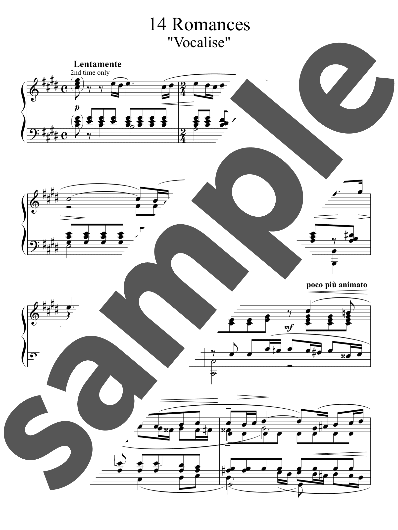 「ヴォカリーズ」のサンプル楽譜