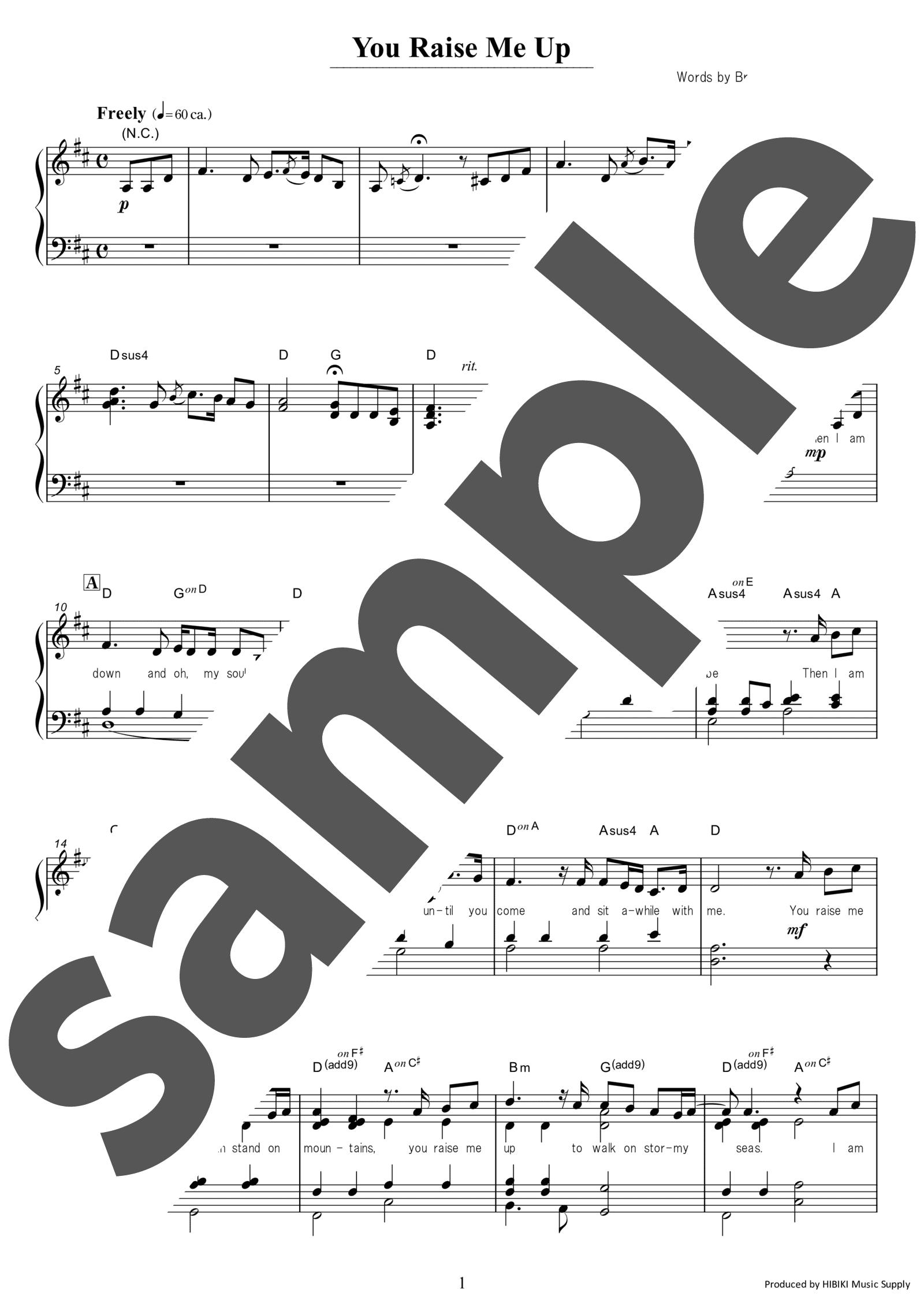 「You Raise Me Up」のサンプル楽譜