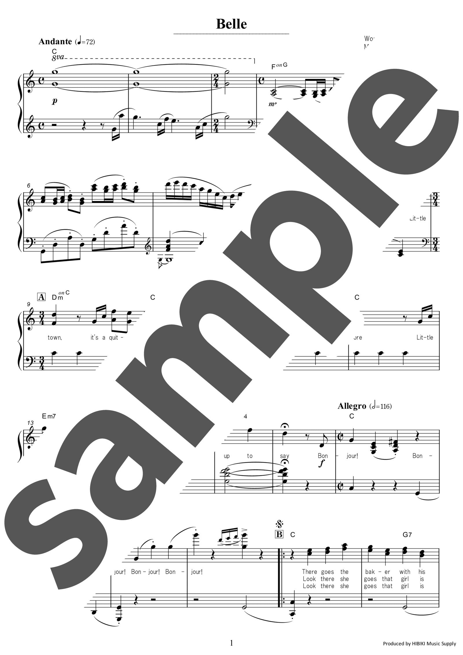 「Belle」のサンプル楽譜