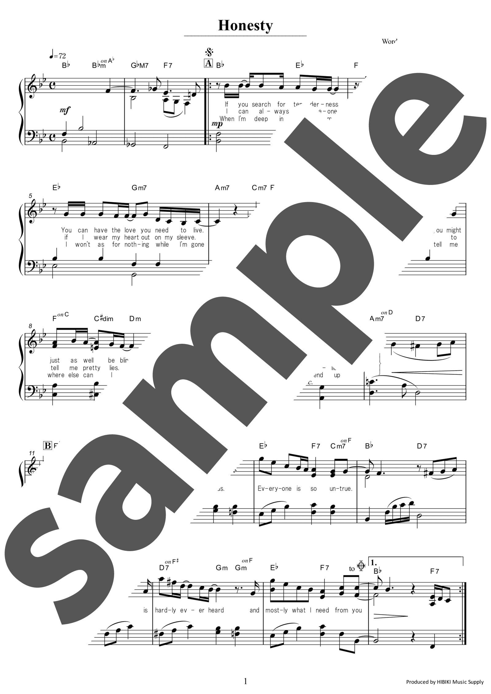 「オネスティ」のサンプル楽譜