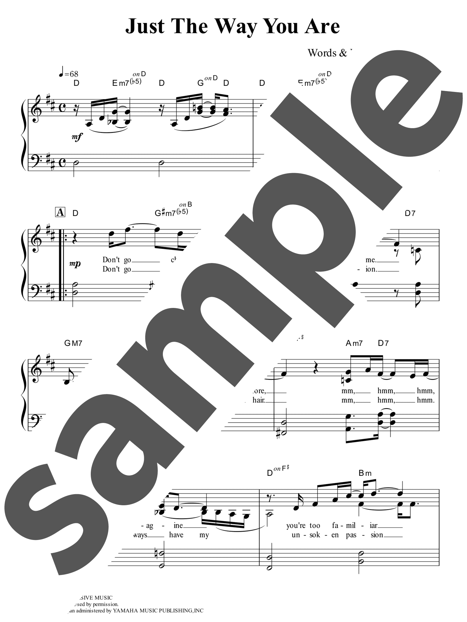 「素顔のままで」のサンプル楽譜