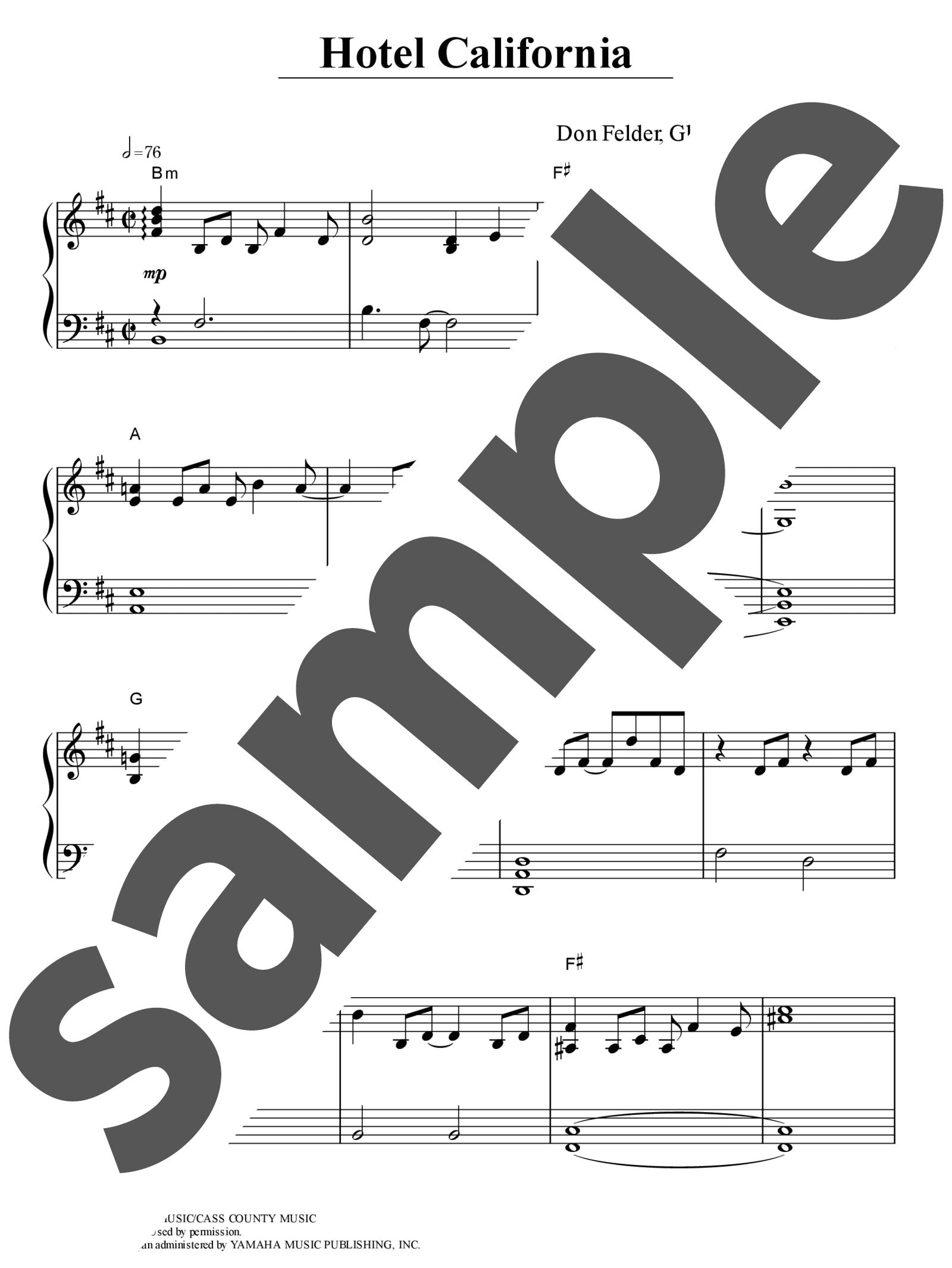 「ホテル・カリフォルニア」のサンプル楽譜
