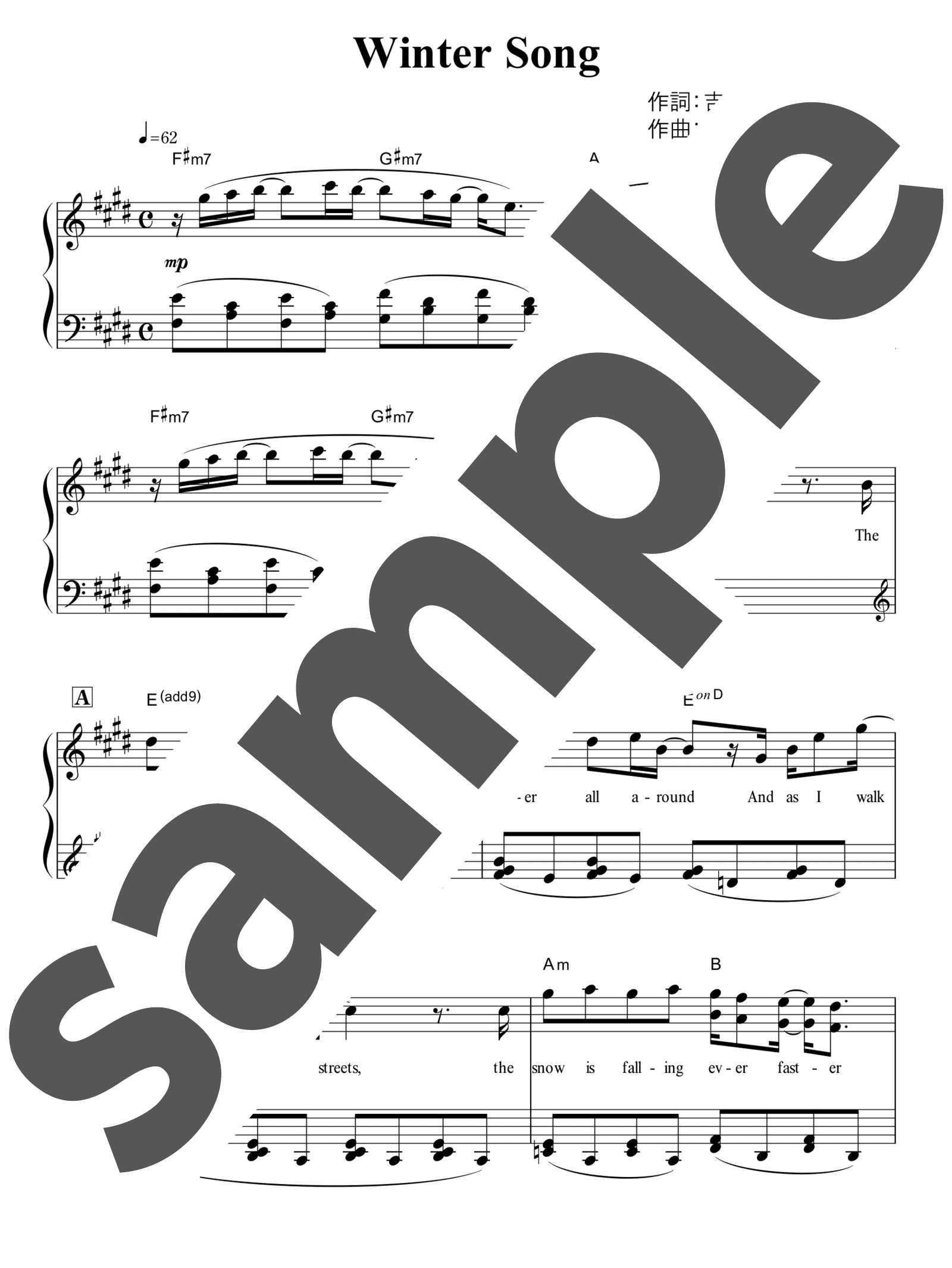 「WINTER SONG」のサンプル楽譜