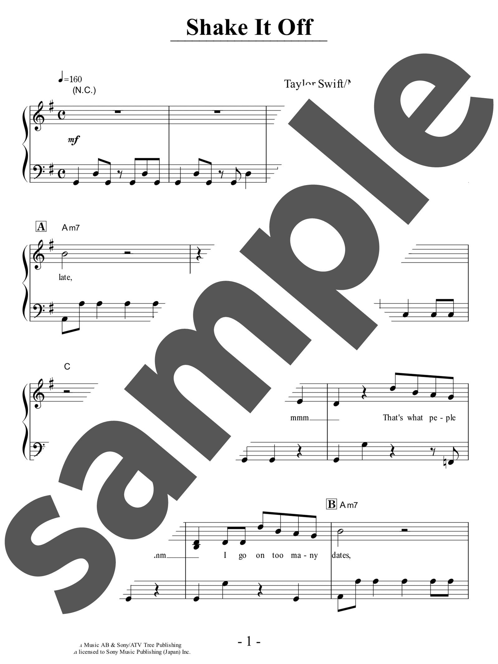 「Shake It Off」のサンプル楽譜