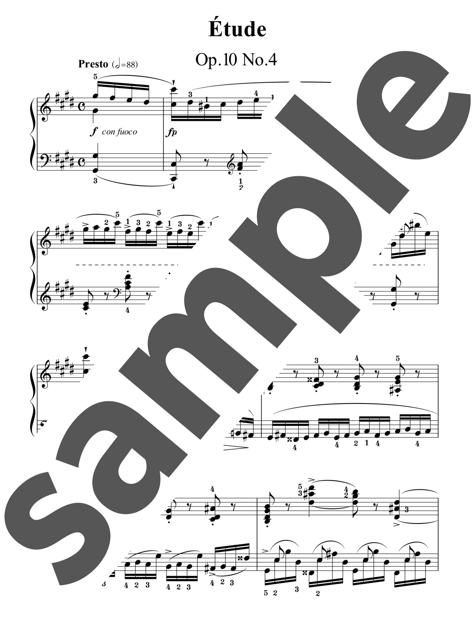 「練習曲 作品10-4 嬰ハ短調」のサンプル楽譜