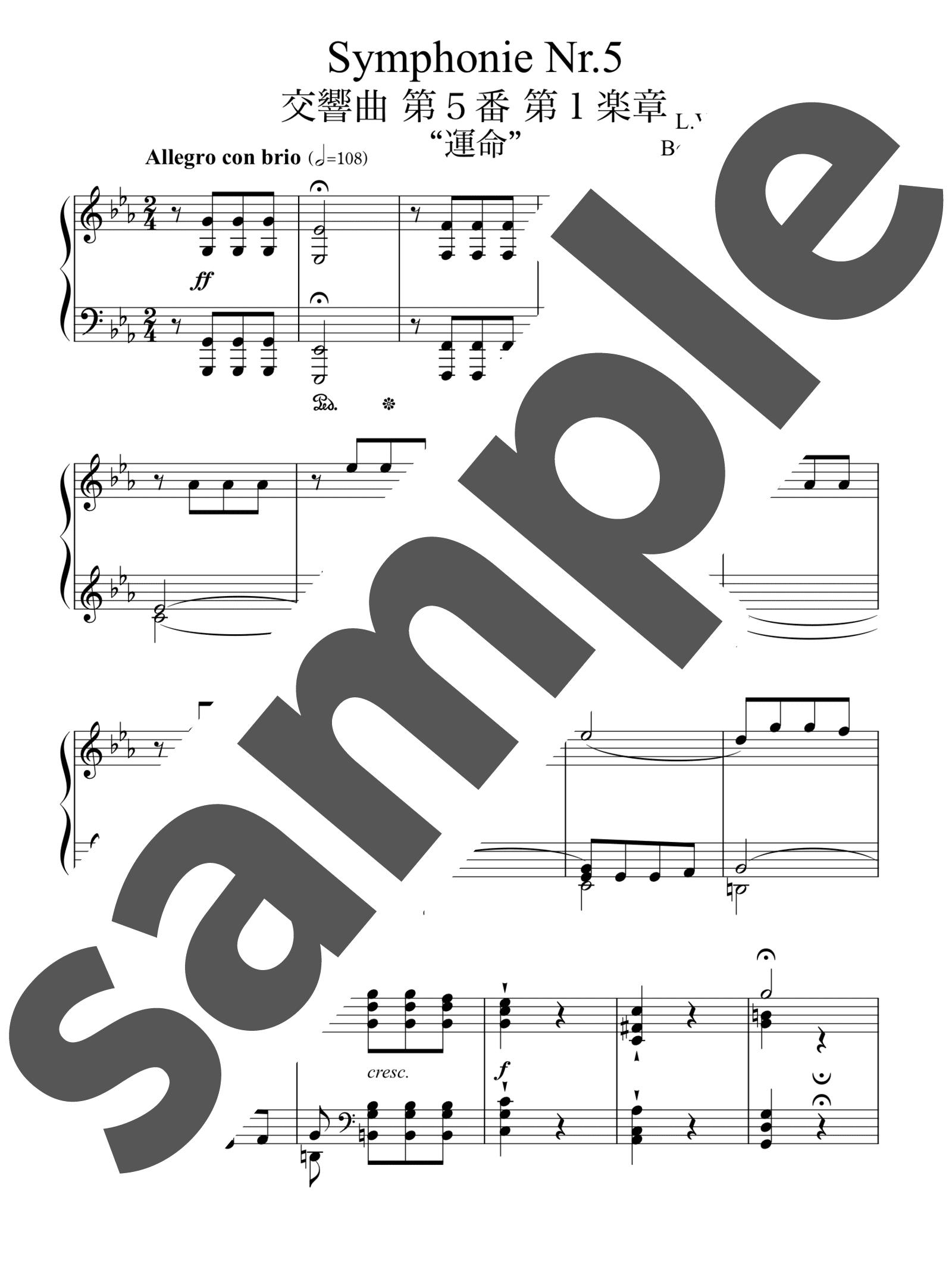 「交響曲第5番 ハ短調「運命」リスト編曲 第1楽章」のサンプル楽譜