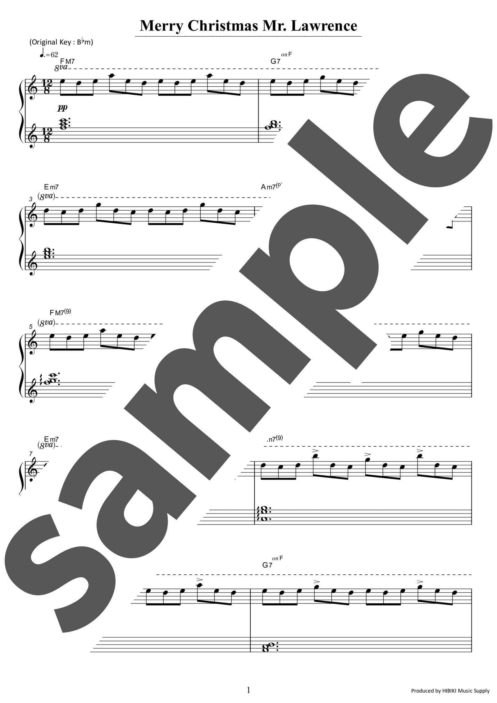 「戦場のメリークリスマス」のサンプル楽譜