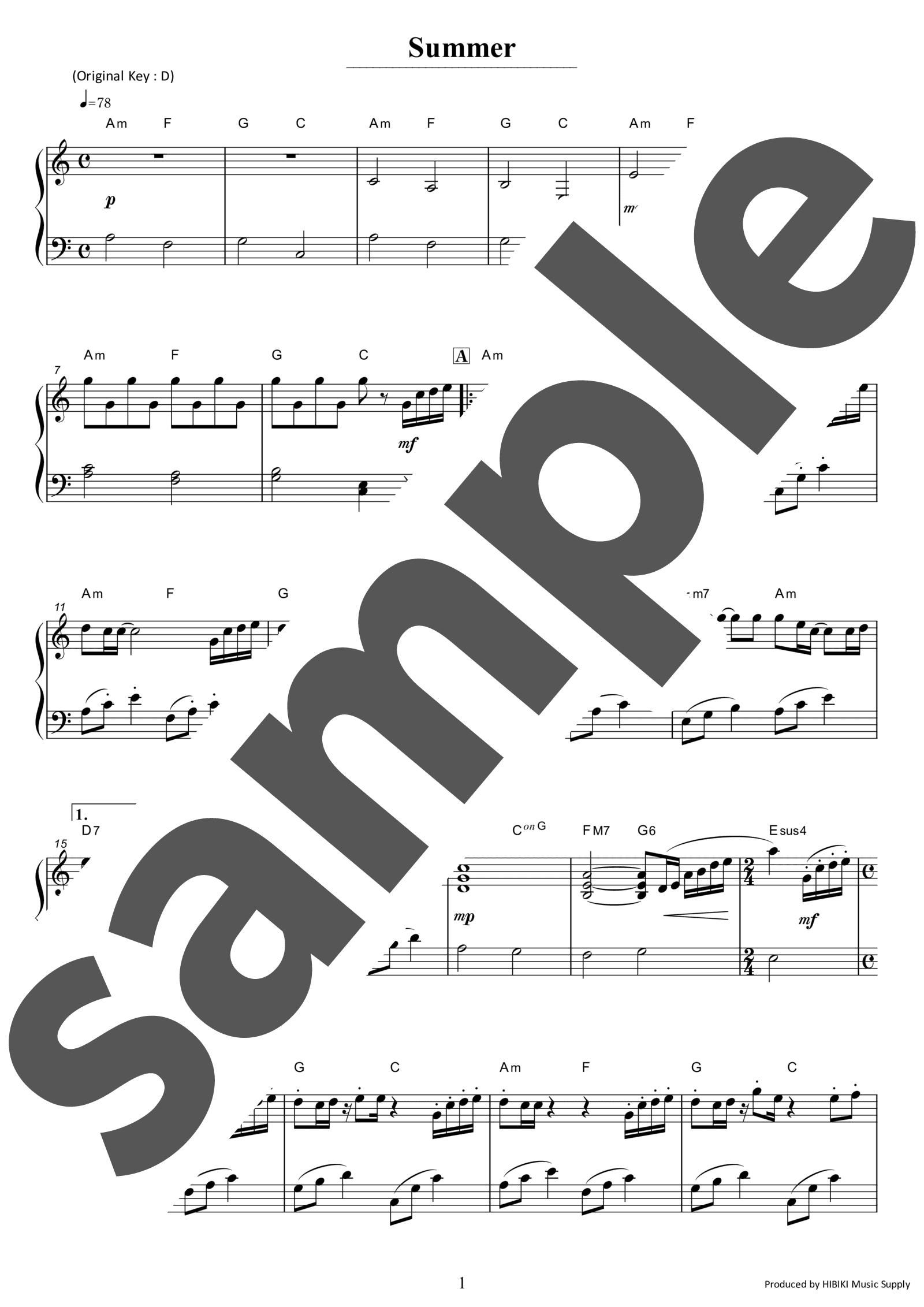 「Summer」のサンプル楽譜
