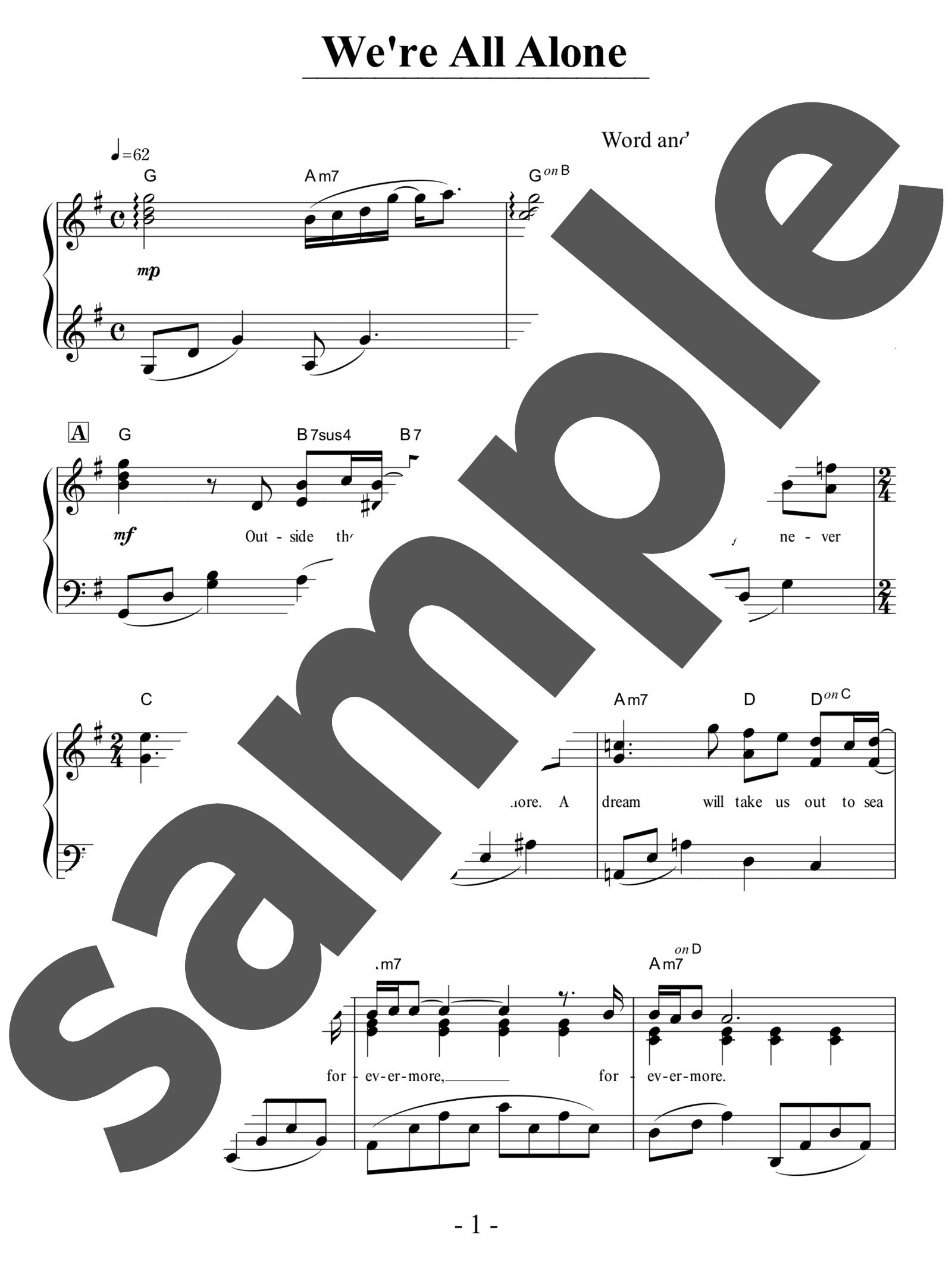 「WE'RE ALL ALONE」のサンプル楽譜