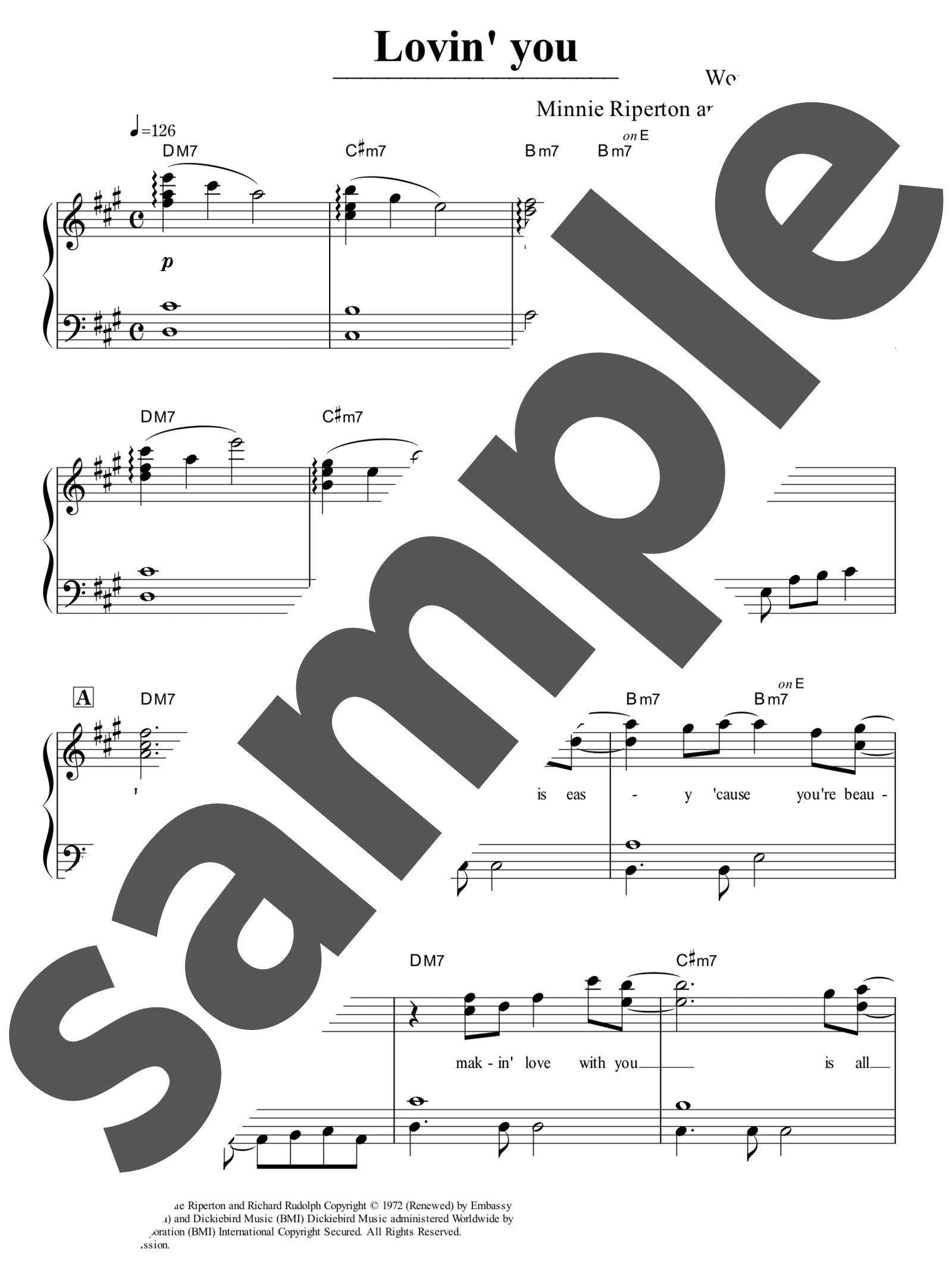「Lovin' You」のサンプル楽譜