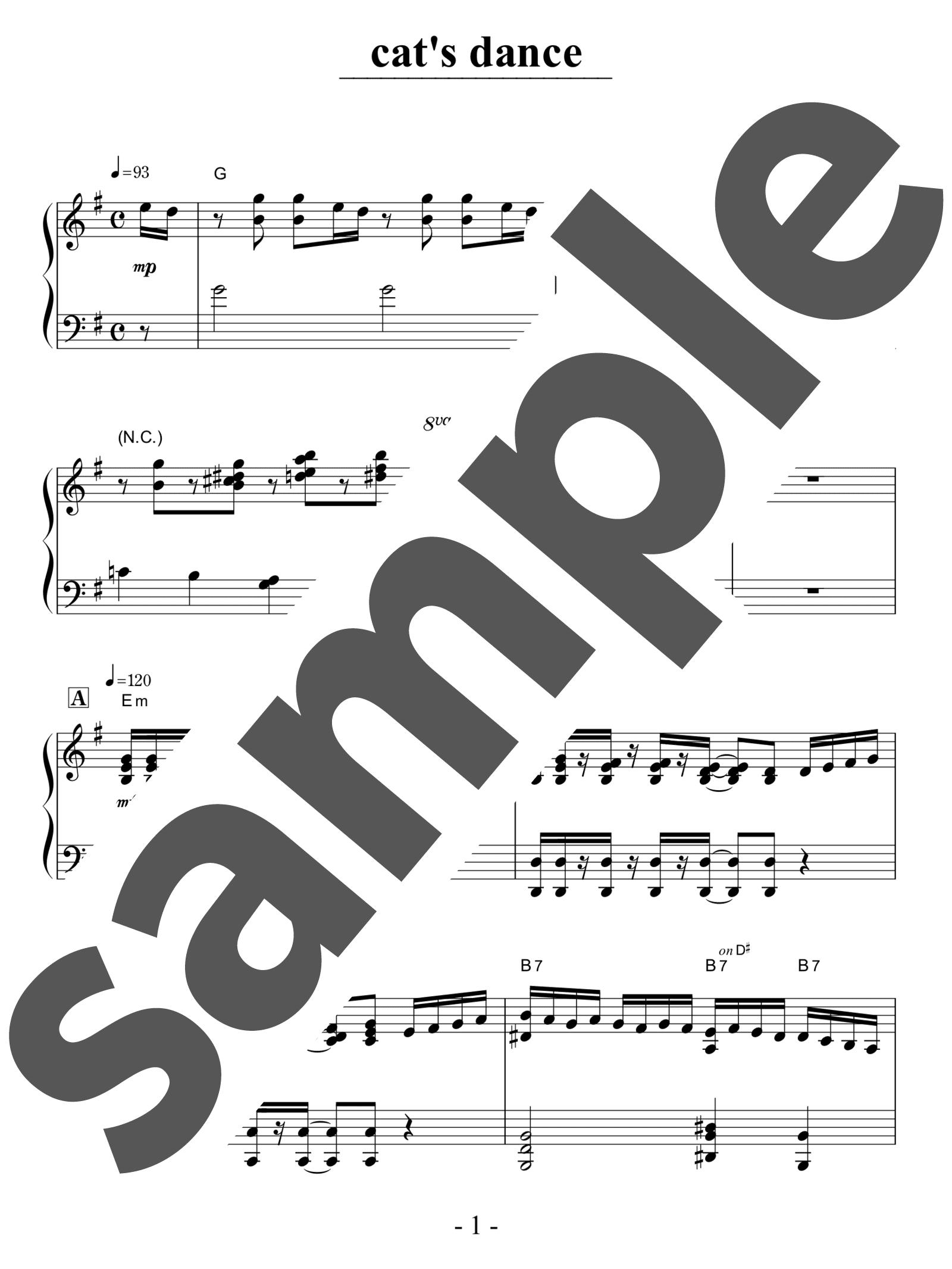 「cat's dance」のサンプル楽譜
