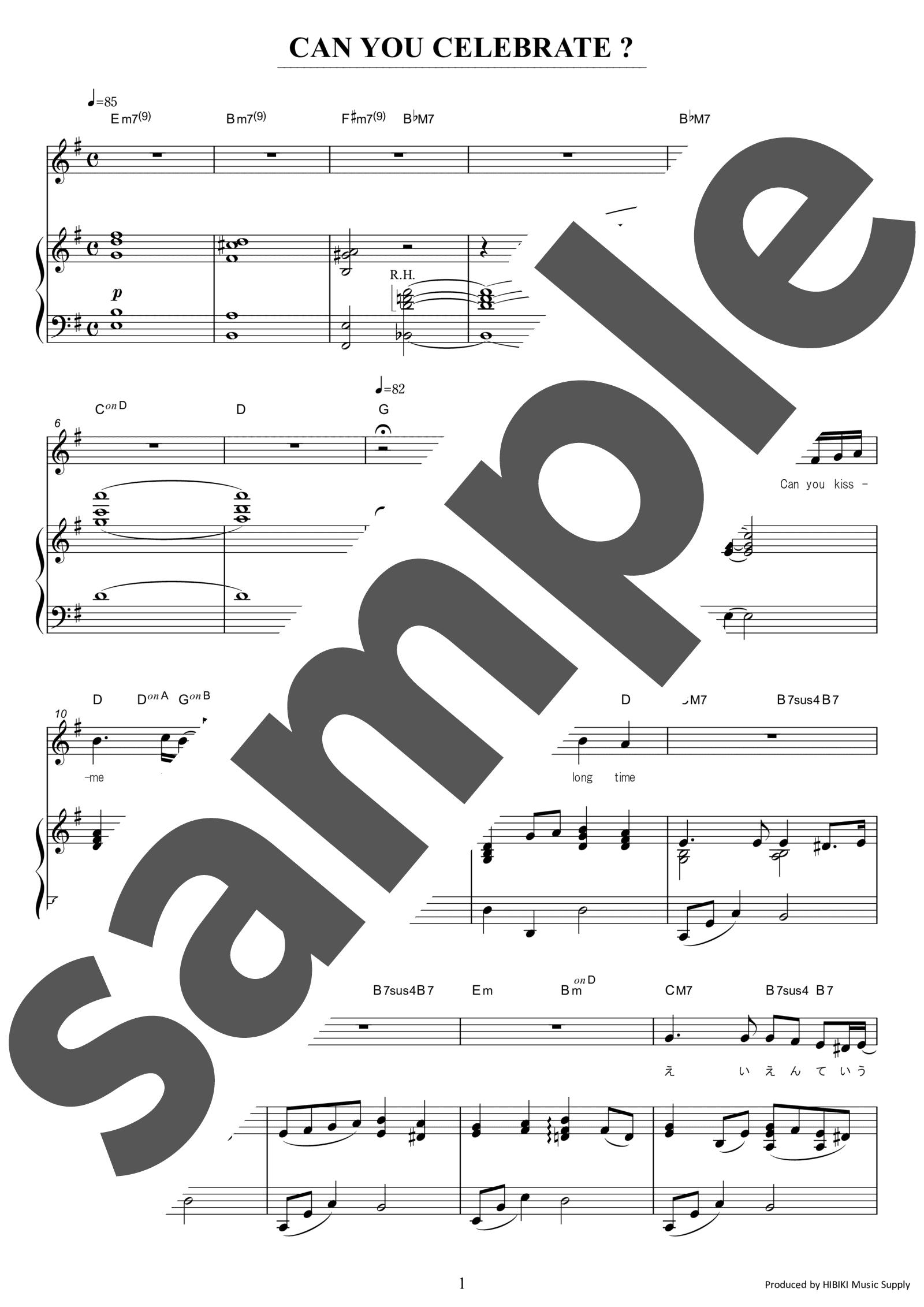 「CAN YOU CELEBRATE?」のサンプル楽譜
