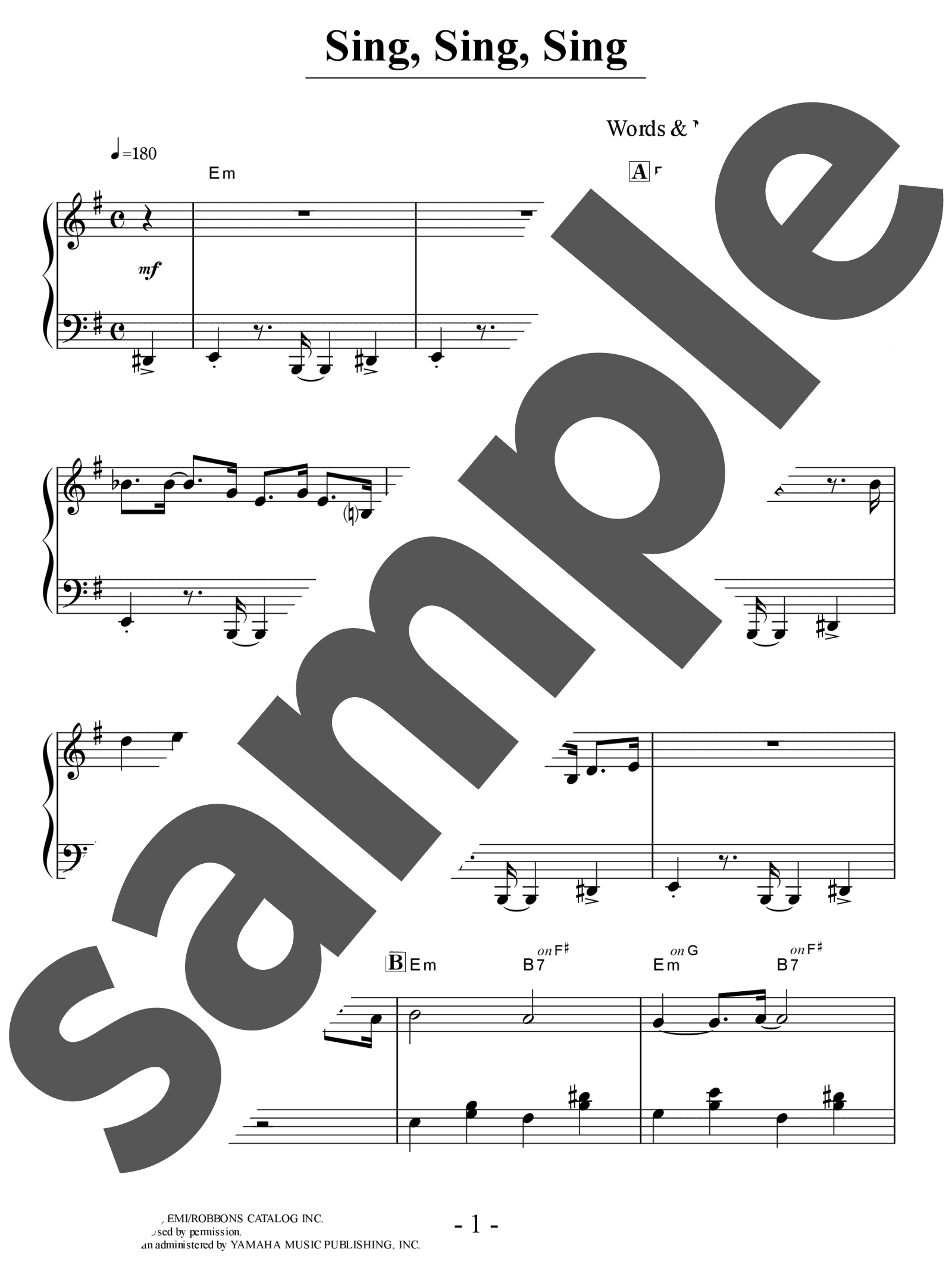 「Sing, Sing, Sing (With a Swing)」のサンプル楽譜